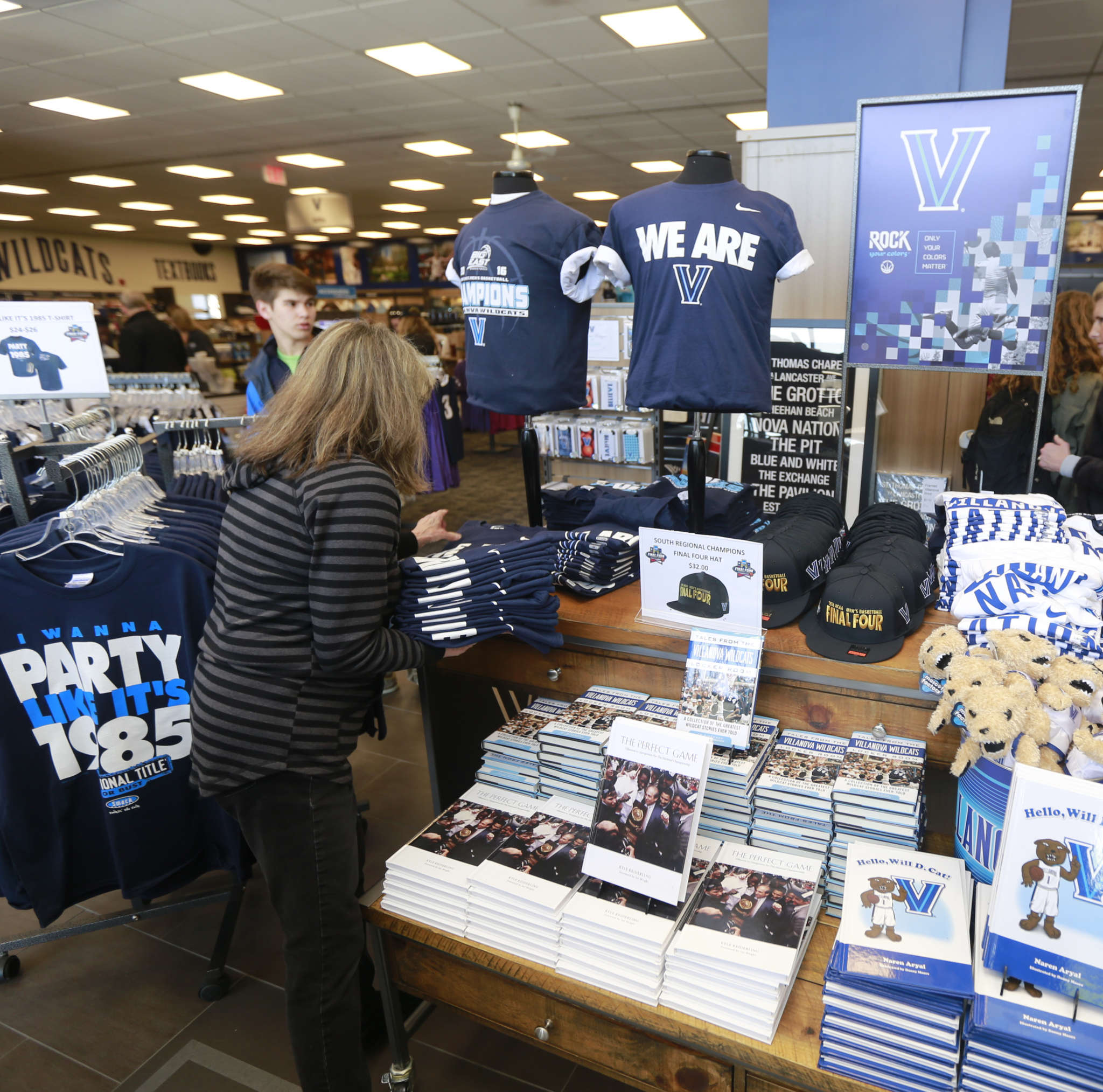 Final Four merchandise is restocked at the Villanova University Shop. It´s a far cry from the Big Store, a defunct Darby site that thrived in the 1960s, before the sports-apparel boom, despite a distinct lack of quality.
