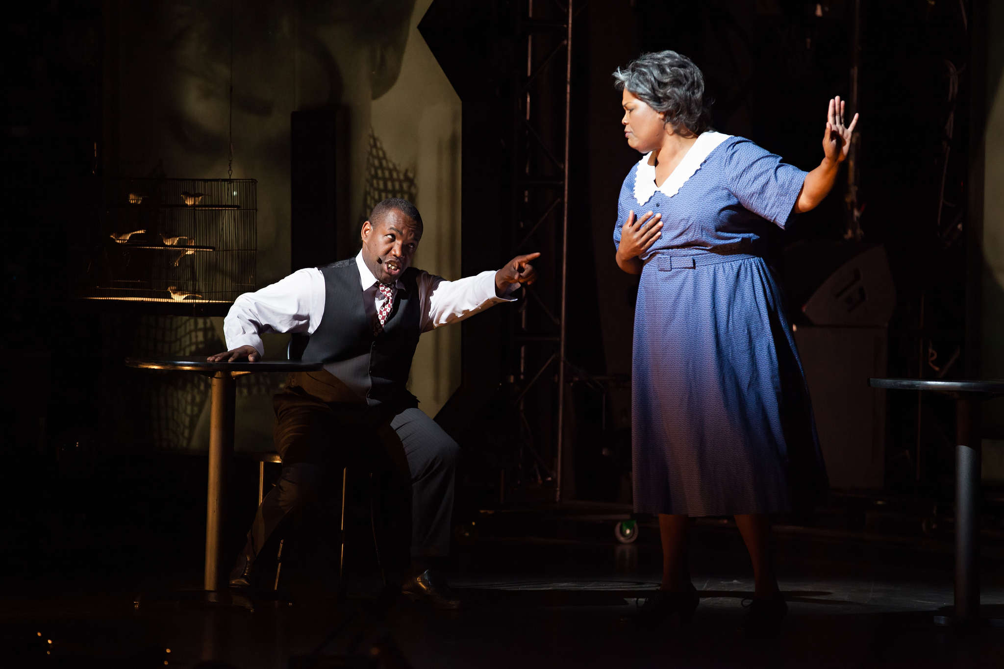 """Lawrence Brownlee stars as Charlie Parker, with Angela Brown as his mother, Addie, in """"Yardbird,"""" which Opera Philadelphia performed at the Apollo Theatre in Harlem."""