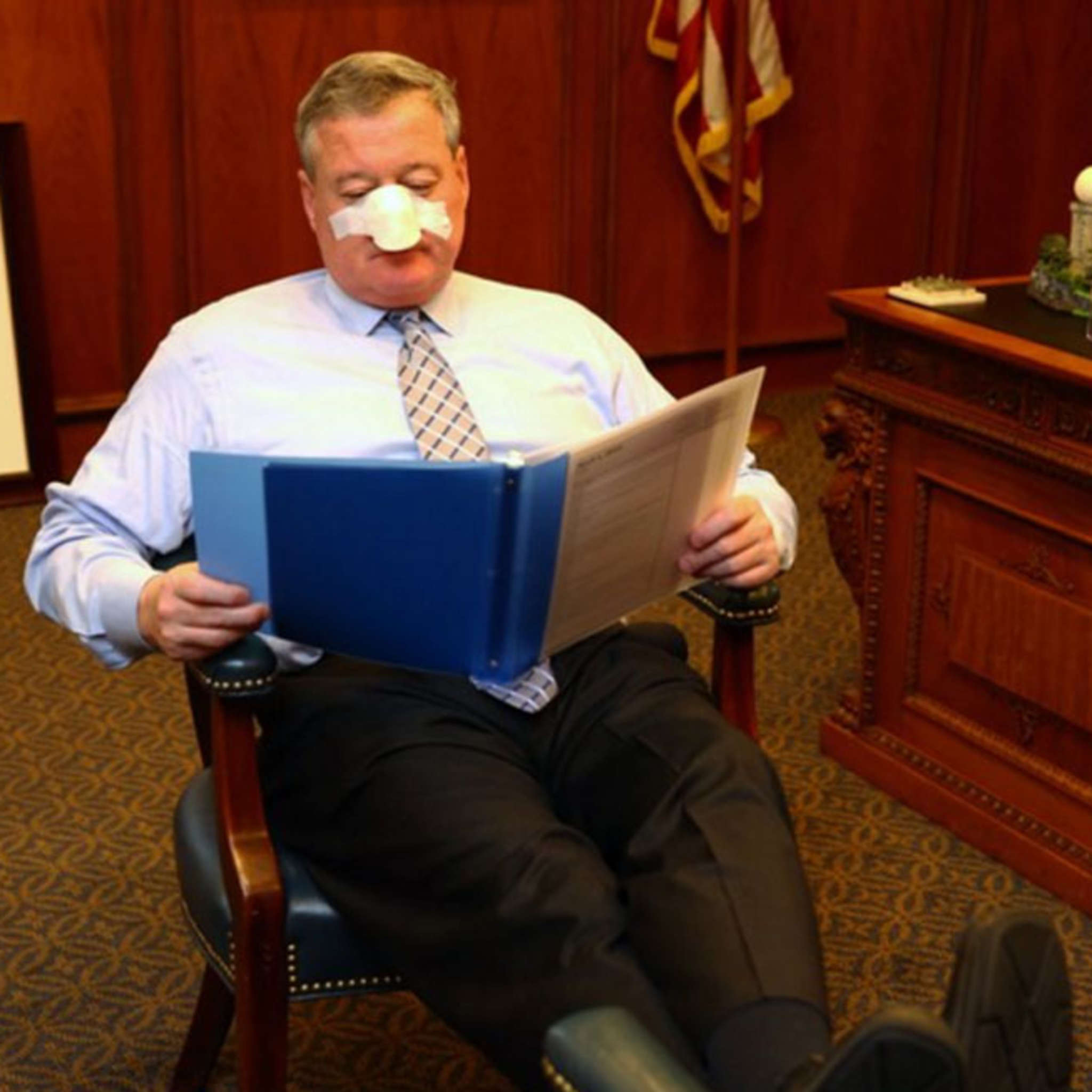 Mayor Kenney relaxes as he recovers from his recent nose job . . . OK, April Fool! TWITTER