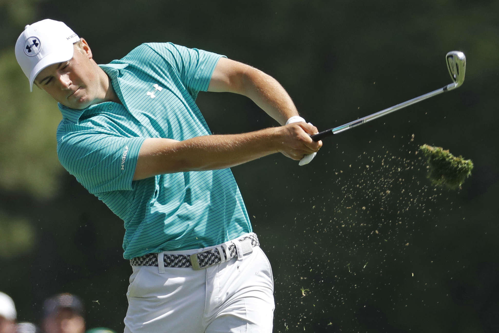 Jordan Spieth, , the defending champion, tees off at No. 12 during his first round at the Masters. Associated Press