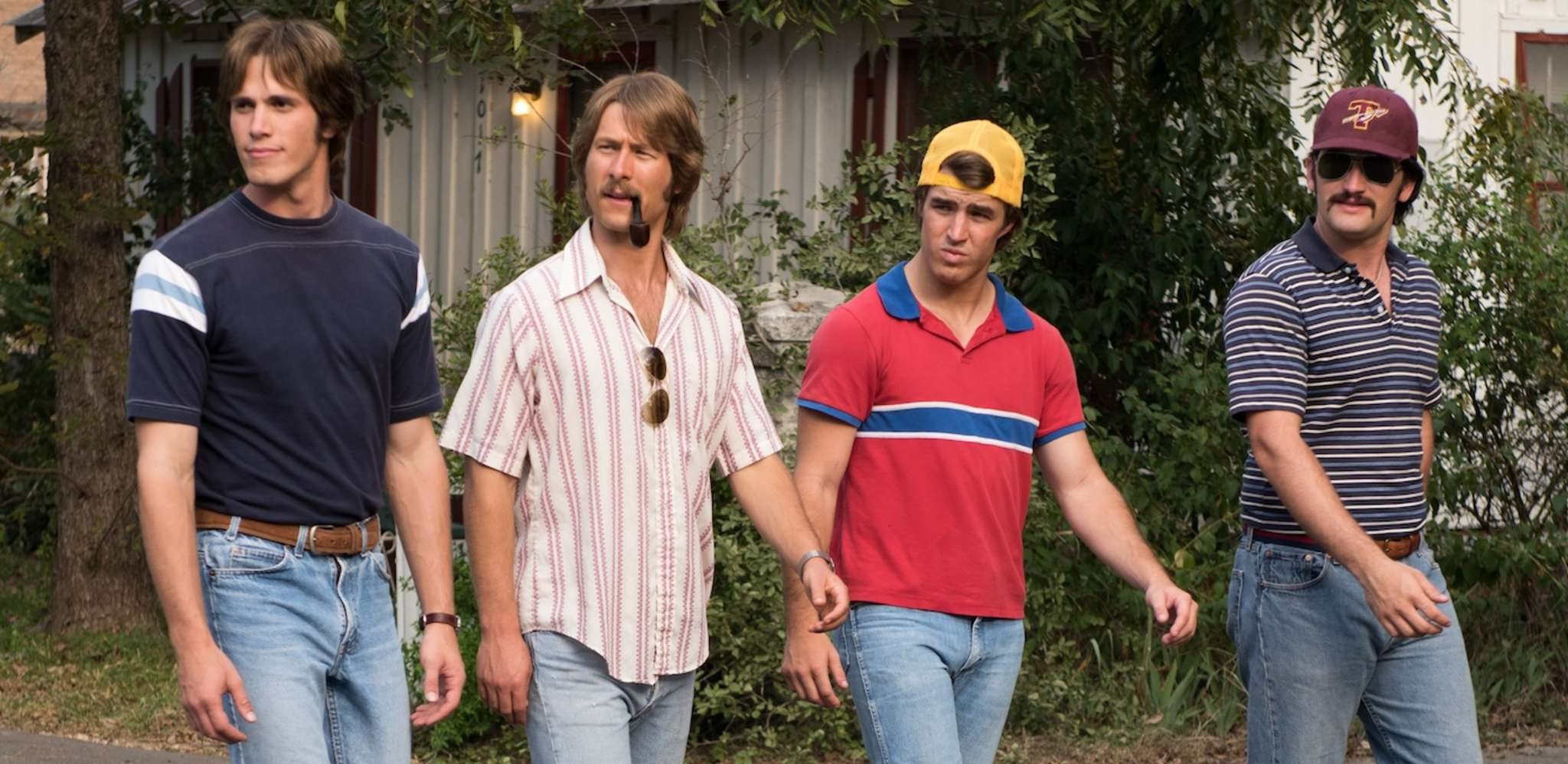 "Baseball jocks of 1980: (from left) Blake Jenner, Glen Powell, Temple Baker, and Forrest Vickery, in ""Everybody Wants Some!!"""