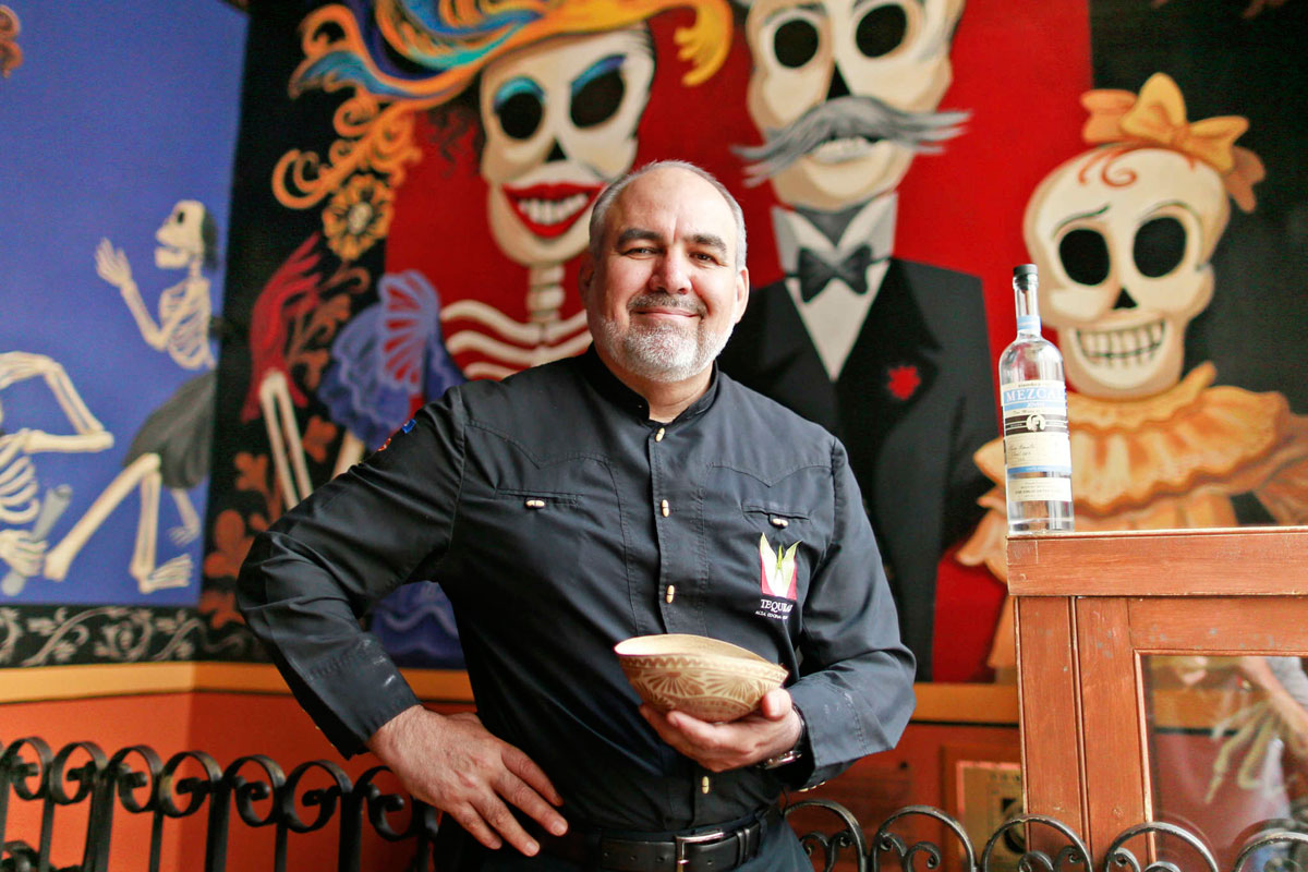 David Suro-Piñera, owner of Tequila´s, uses this traditional gourd cup to drink mescal. His company, Siembra Azul, featuring highlands tequila, recently expanded into mescal