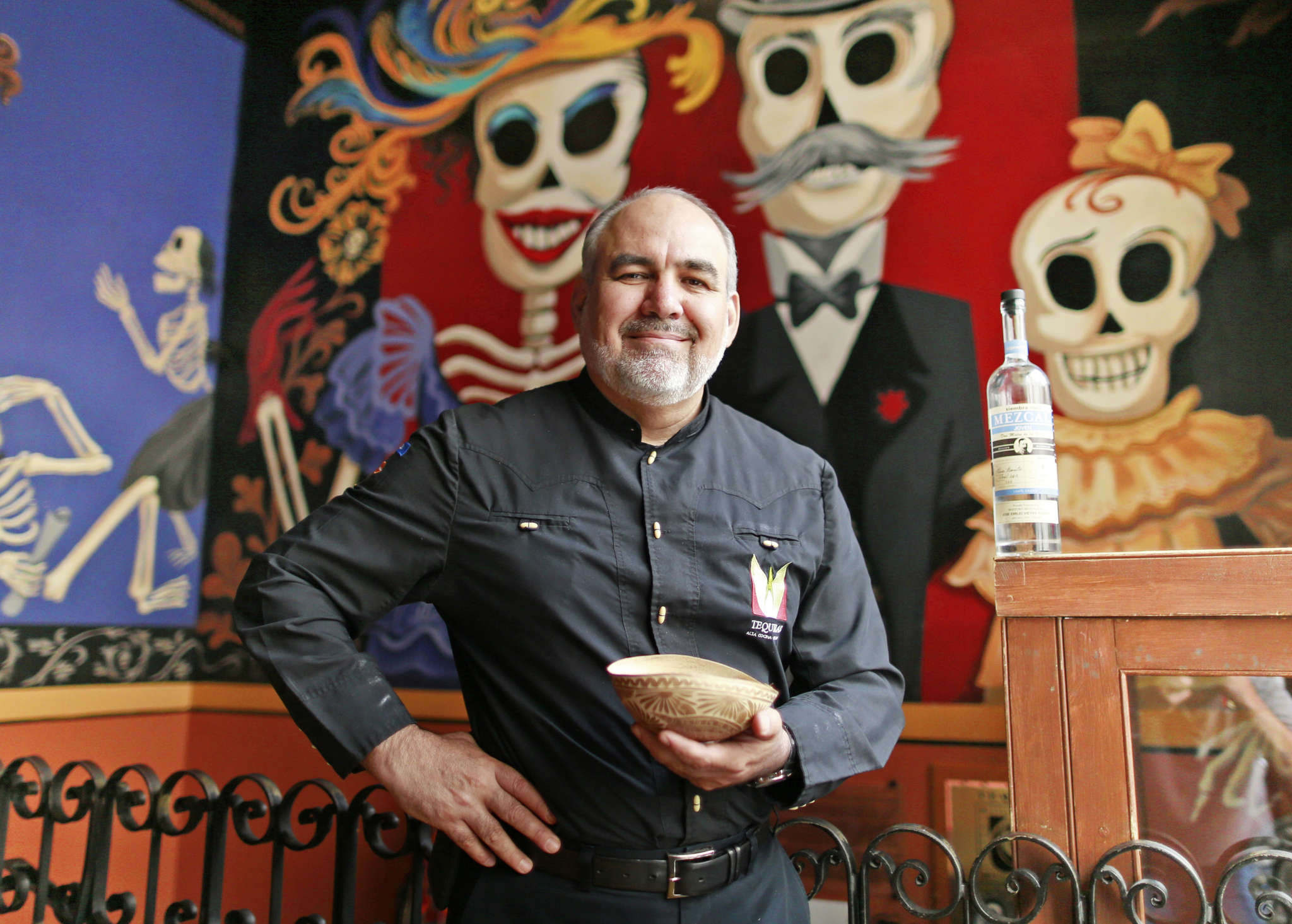 David Suro-Piñera , owner of Tequila´s, uses this traditional gourd cup to drink mescal. His company, Siembra Azul, featuring highlands tequila, recently expanded into mescal. DAVID SWANSON / Staff Photographer