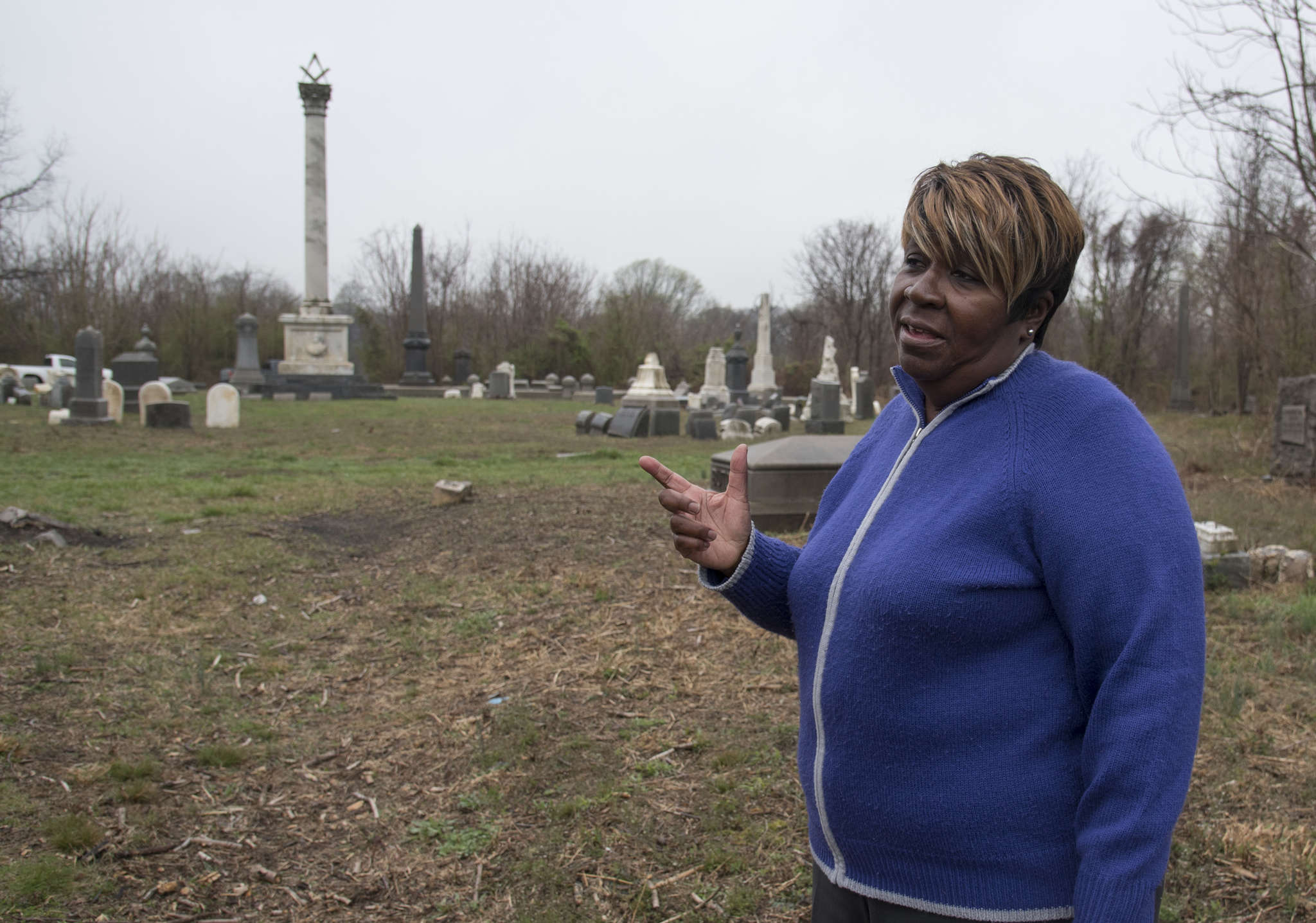 Paulette Rhone, president of the Friends of Mount Moriah Cemetery, talks about the efforts of her group to restore the grounds of the cemetery from decades of neglect and overgrowth.
