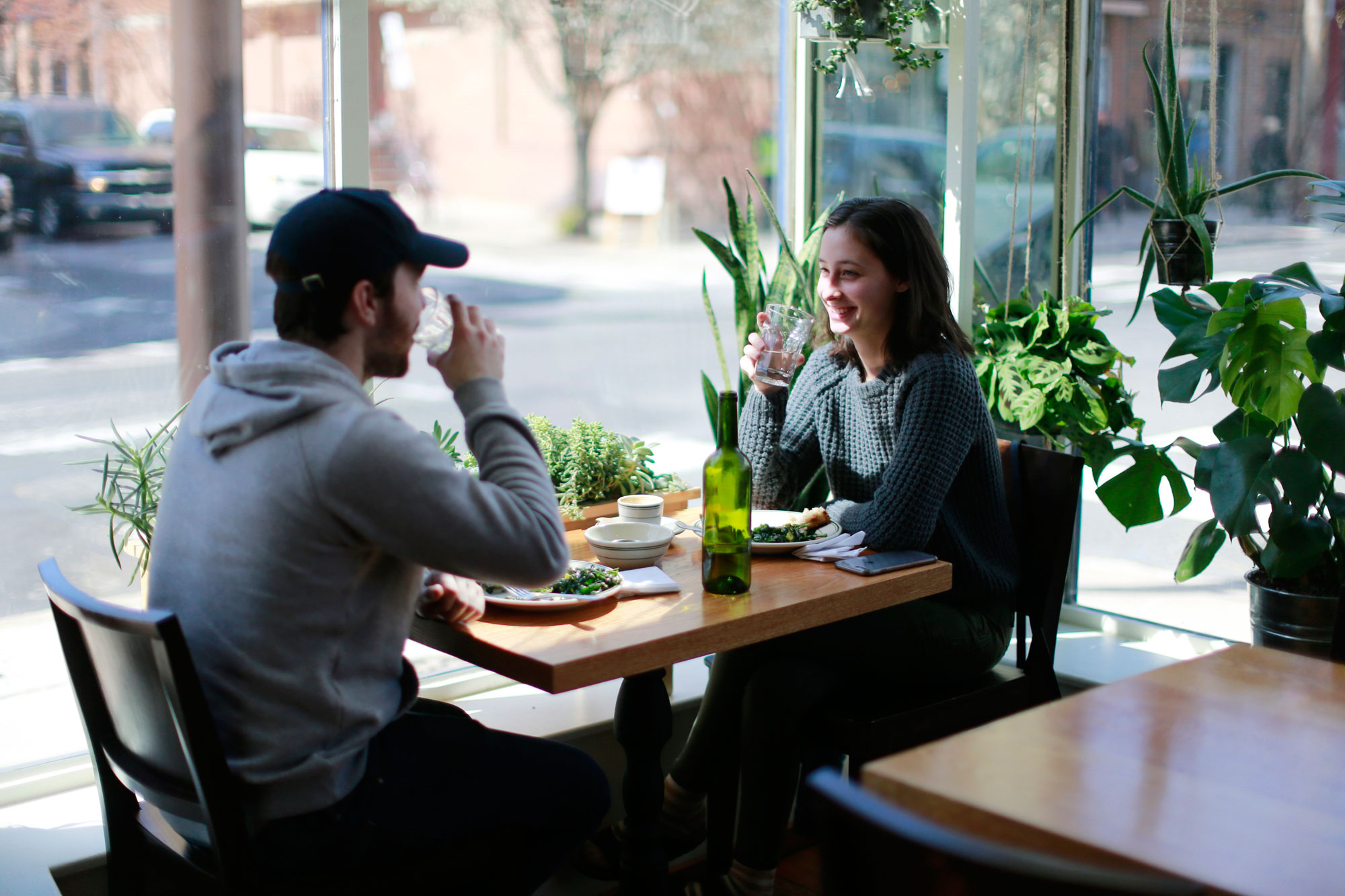 Kaila Carcia and her friend Jason Baraowski take lunch at The Hungry Pigeon, 743 S 4th St., Wednesday March 30, 2016.