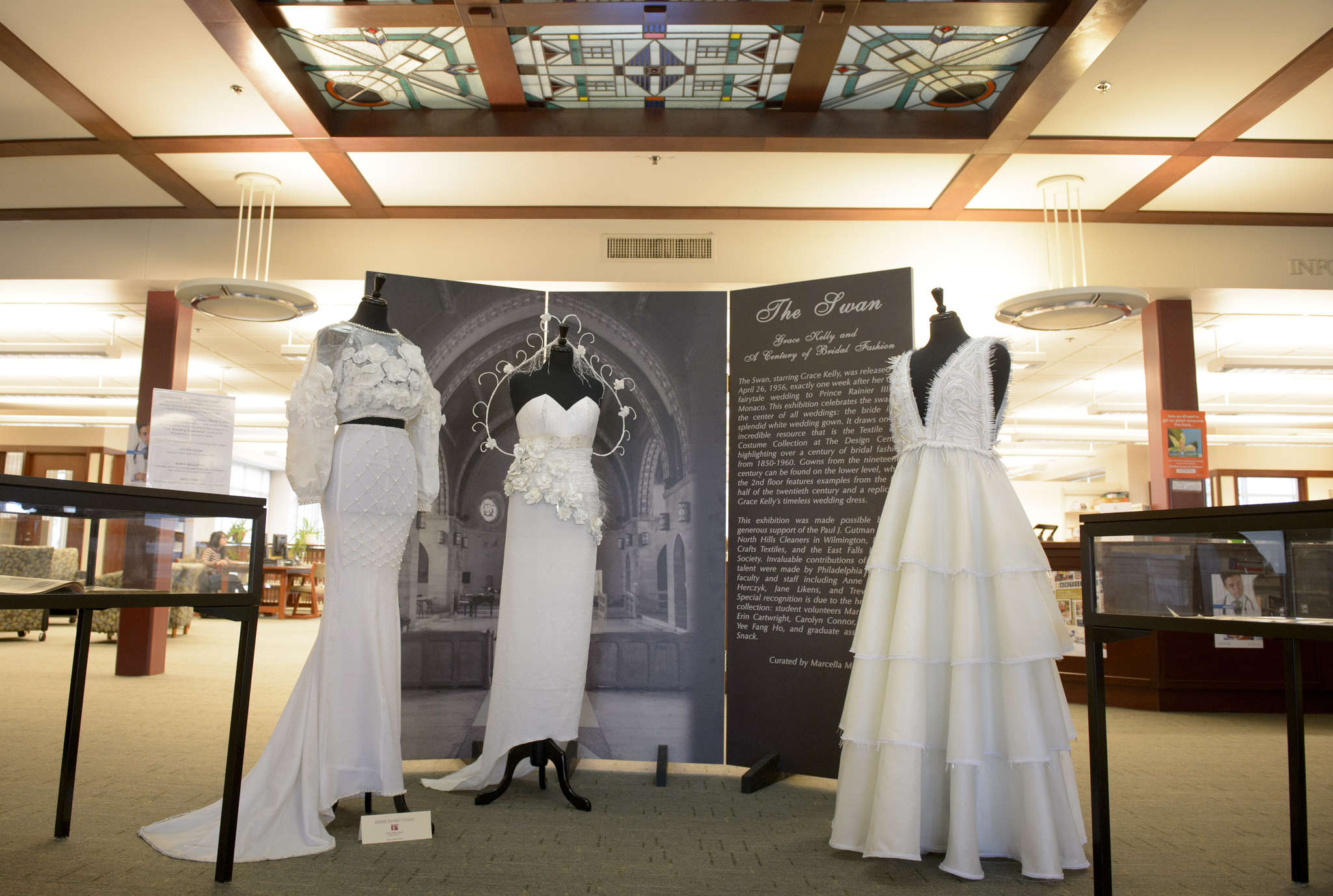 Contemporary wedding dresses designed by students in the exhibit at Philadelphia University.