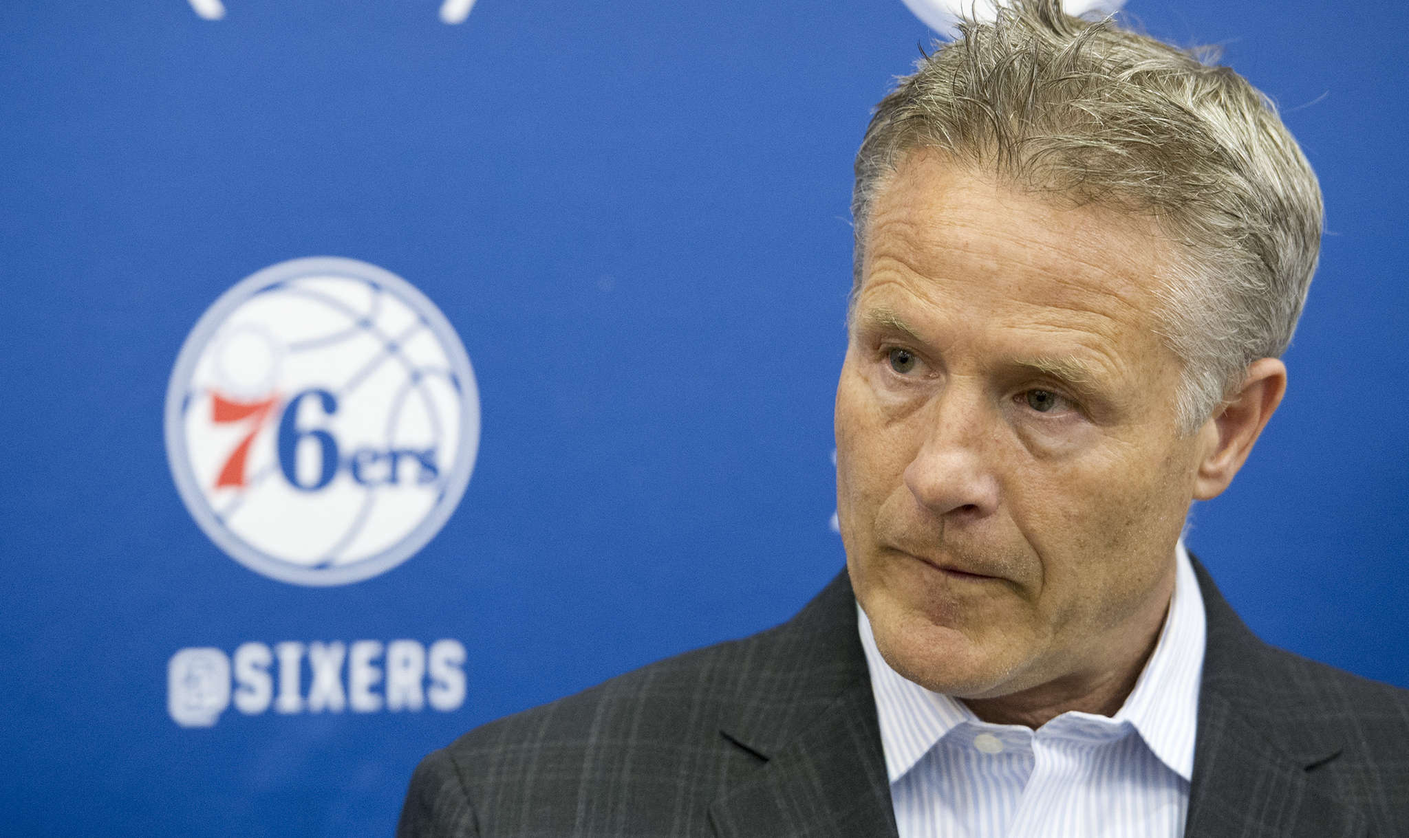 Brett Brown sees Sixers entering second phase of rebuilding. CLEM MURRAY / Staff Photographer