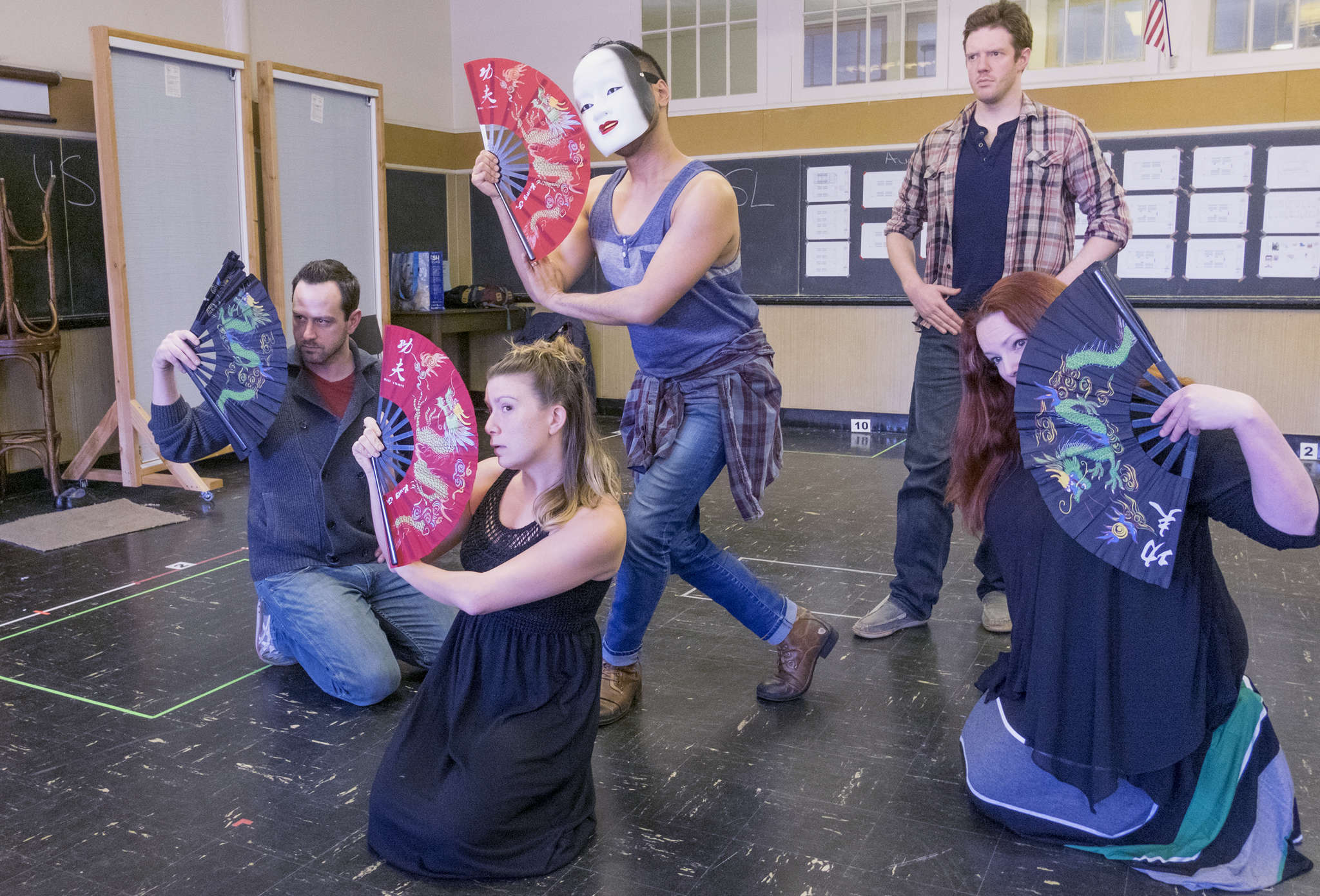 """""""See What I Wanna See"""" cast members (from left) Michael Philip O´Brien, Cara Noel Antosca, Billy Bustamante, Jake Blouch, and Nancie Sanderson, in rehearsal."""