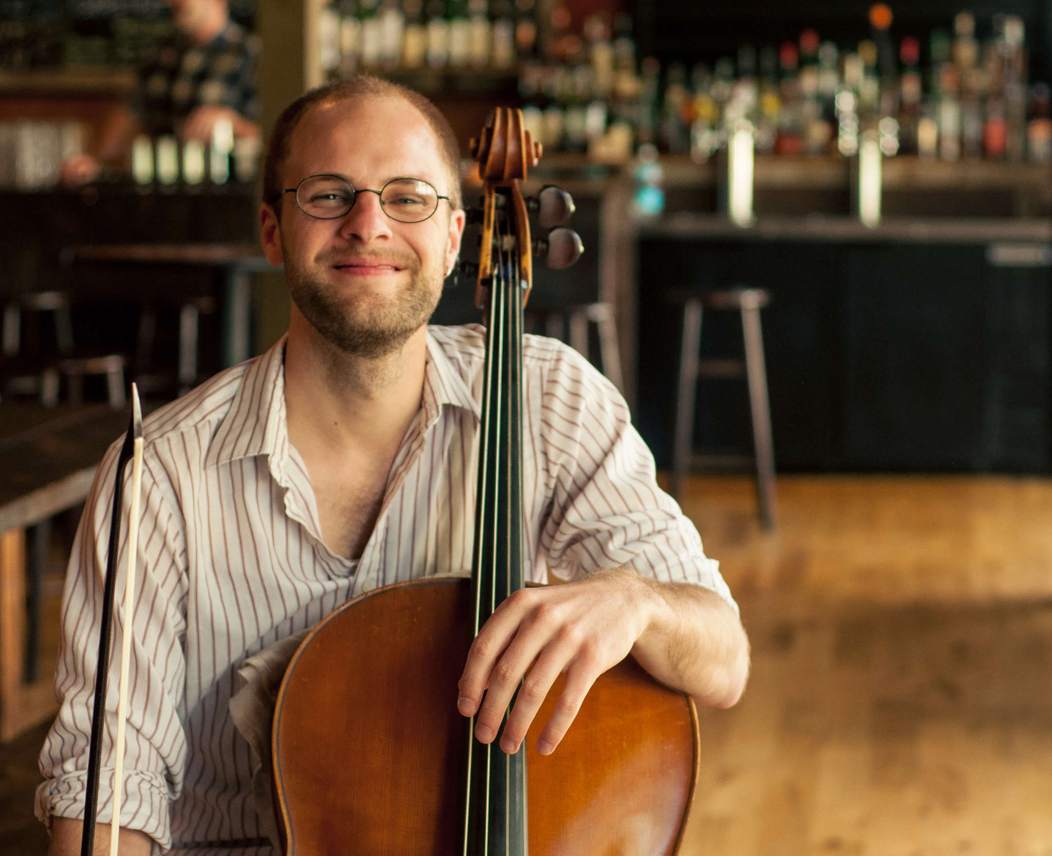 Steuart Pincombe, devoted to presenting classical works in unique venues, played baroque cello at Dock Street Brewery.