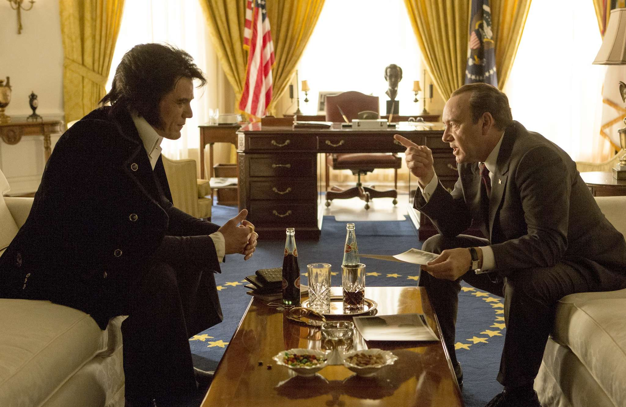 """Suspicious minds: Michael Shannon (left) and Kevin Spacey in """"Elvis & Nixon."""""""