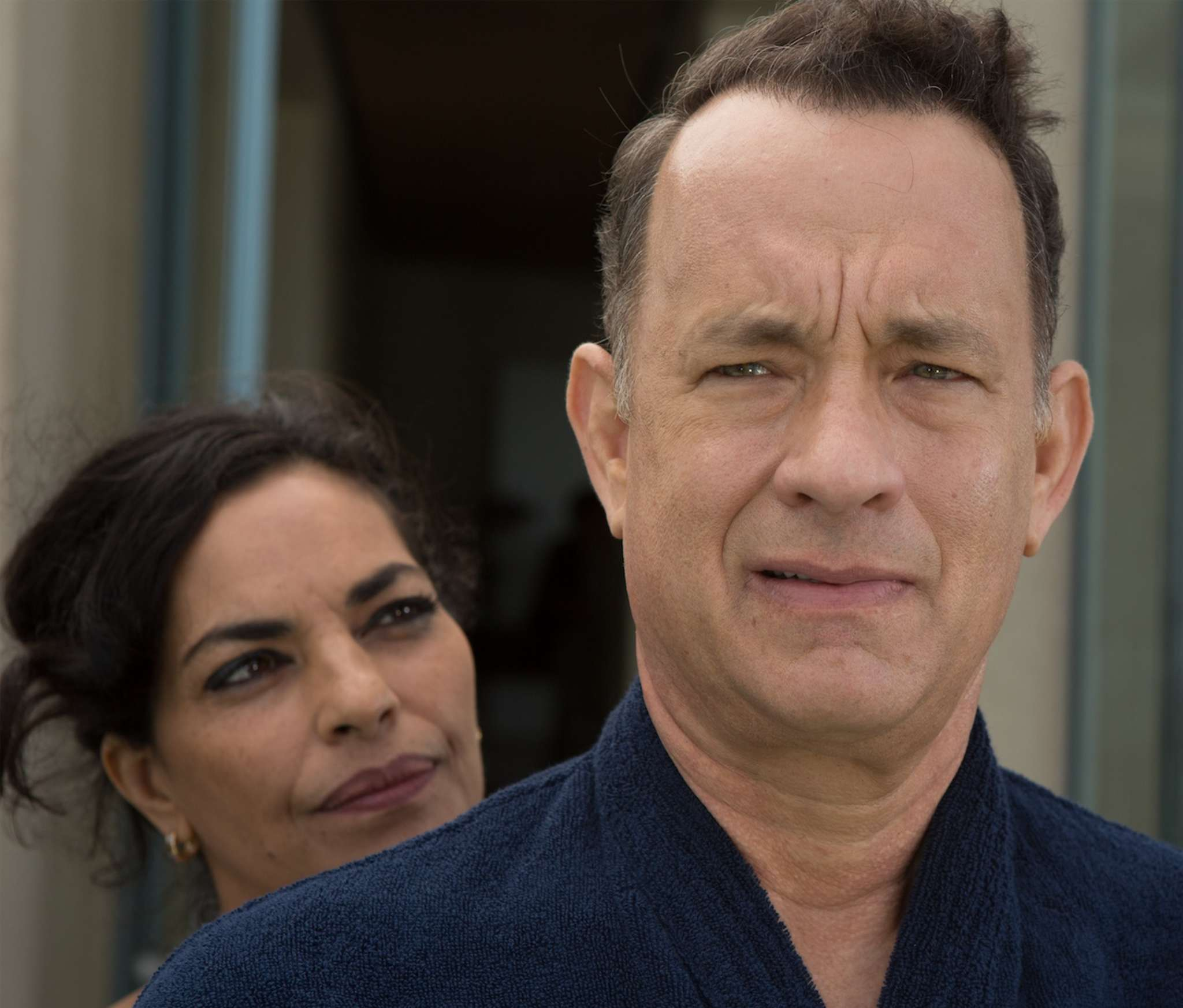 """Tom Hanks is a beleaguered businessman on a sales trip to Saudi Arabia, with Sarita Choudhury, in """"A Hologram for the King."""""""