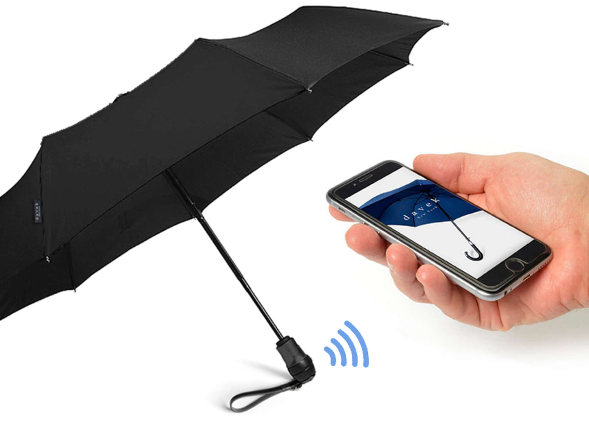 Davek Alert umbrella features a Bluetooth transmitter, synced with an app, ensuring the umbrella never gets lost.