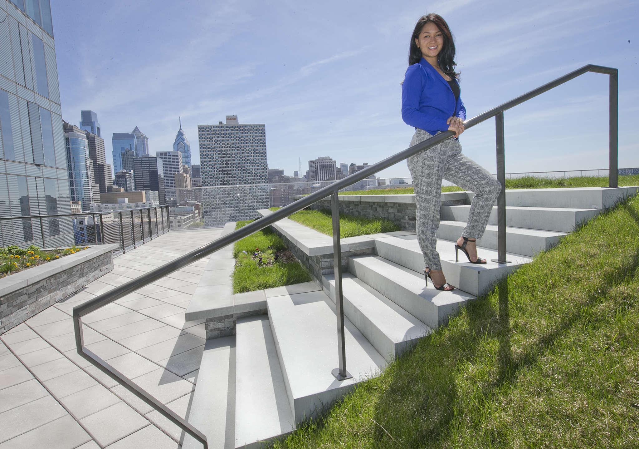 Melissa Lee at Cira Centre´s rooftop park. Her GREEN Program is a travel company that exposes college students to renewable-energy facilities and the environment abroad.