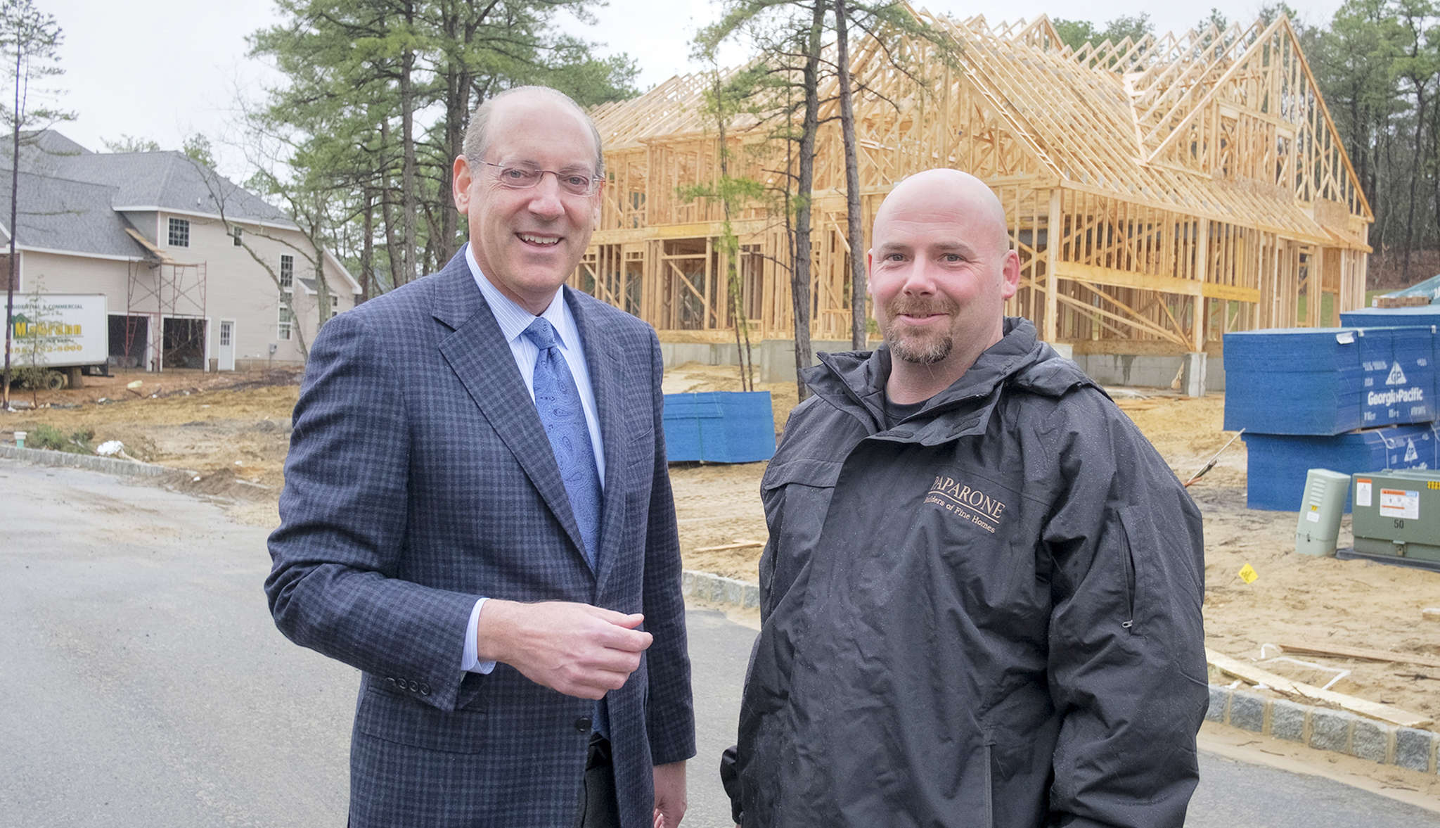 Developer Bruce Paparone (left) and construction manager Michael Bocchino at a Voorhees development.