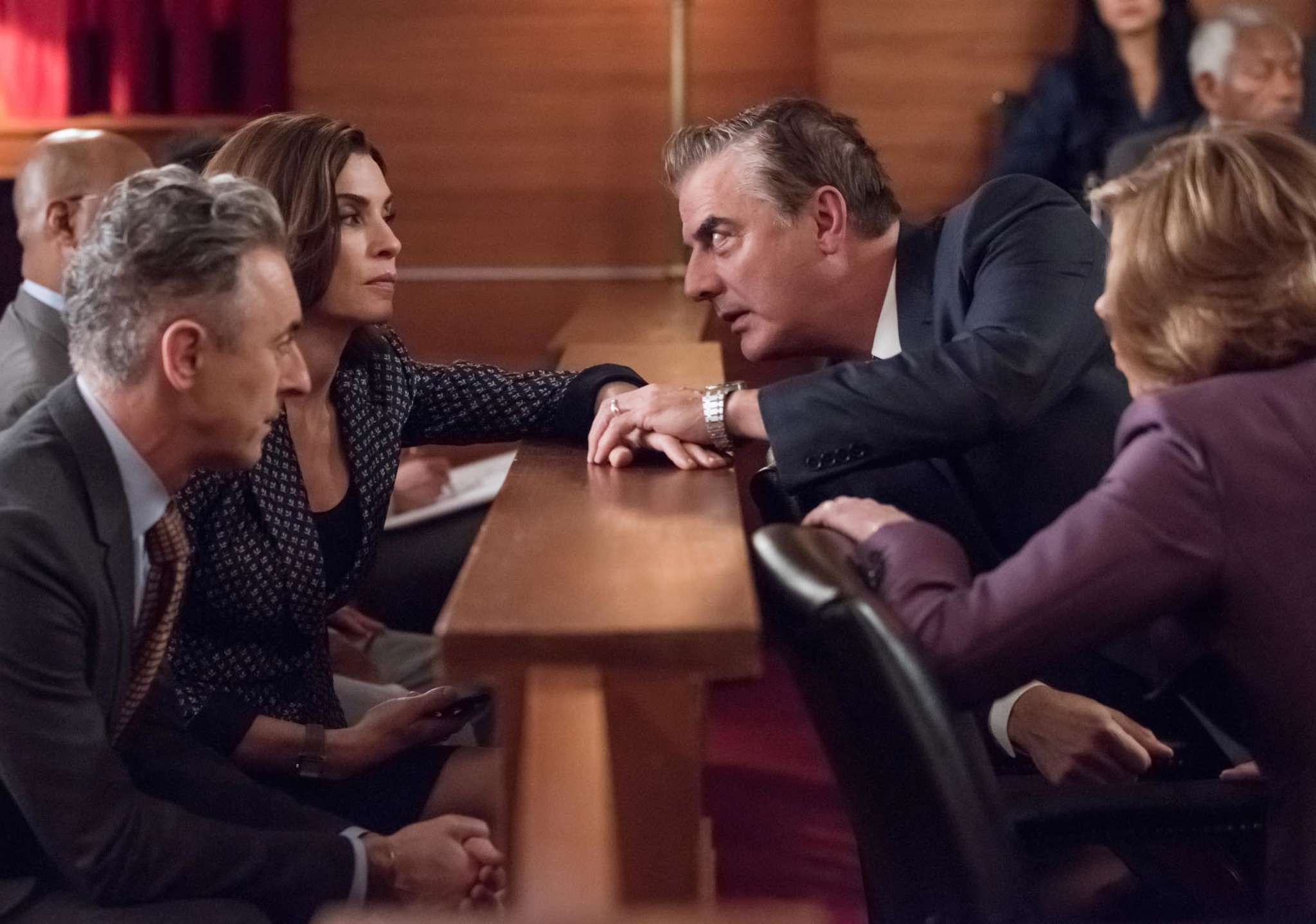 """The Good Wife"" with (from left) Alan Cumming, Julianna Margulies, Chris Noth, and Christine Baranski."