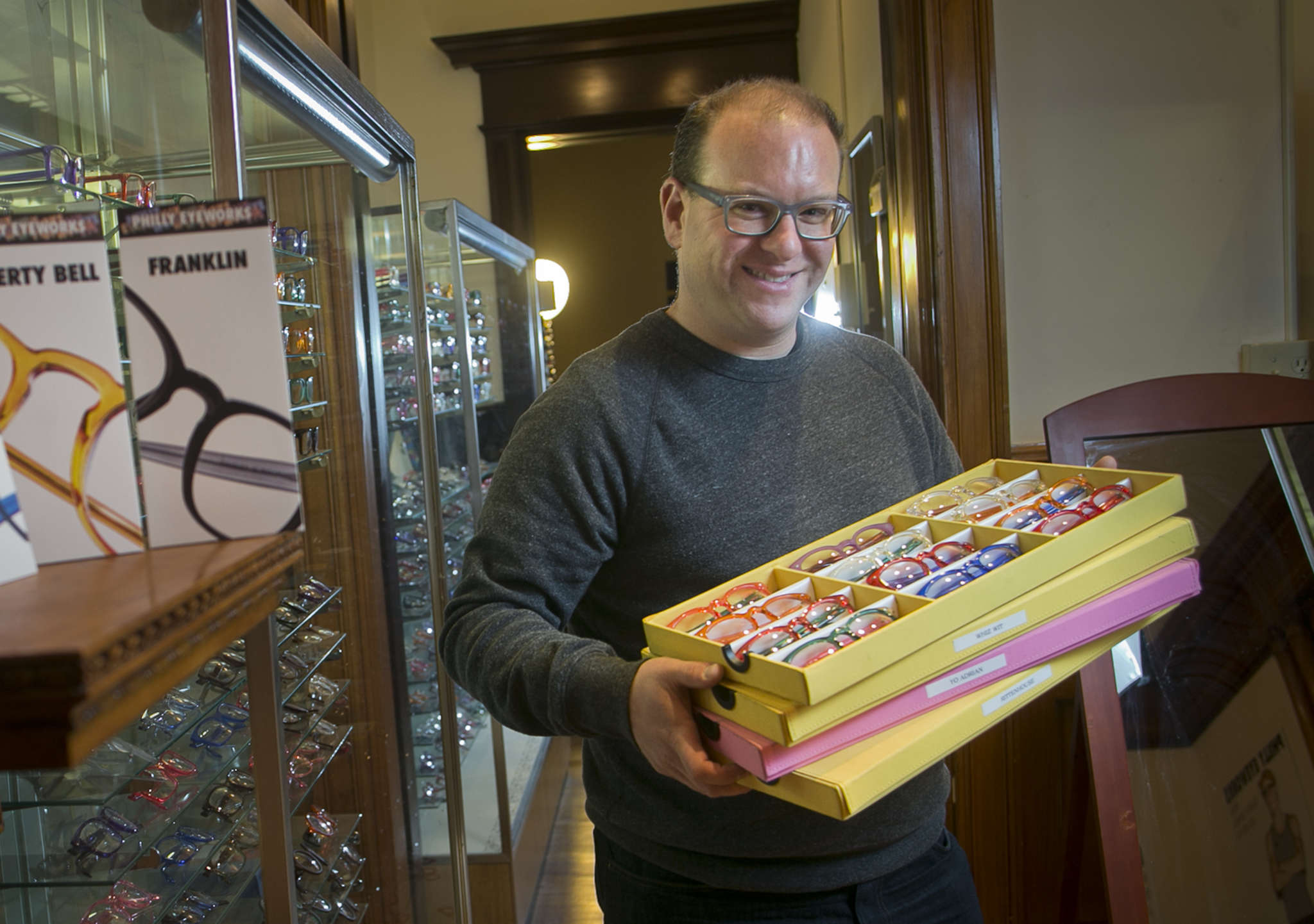 Cliff Balter, owner of Philly EyeWorks, with his Philly-inspired glasses.