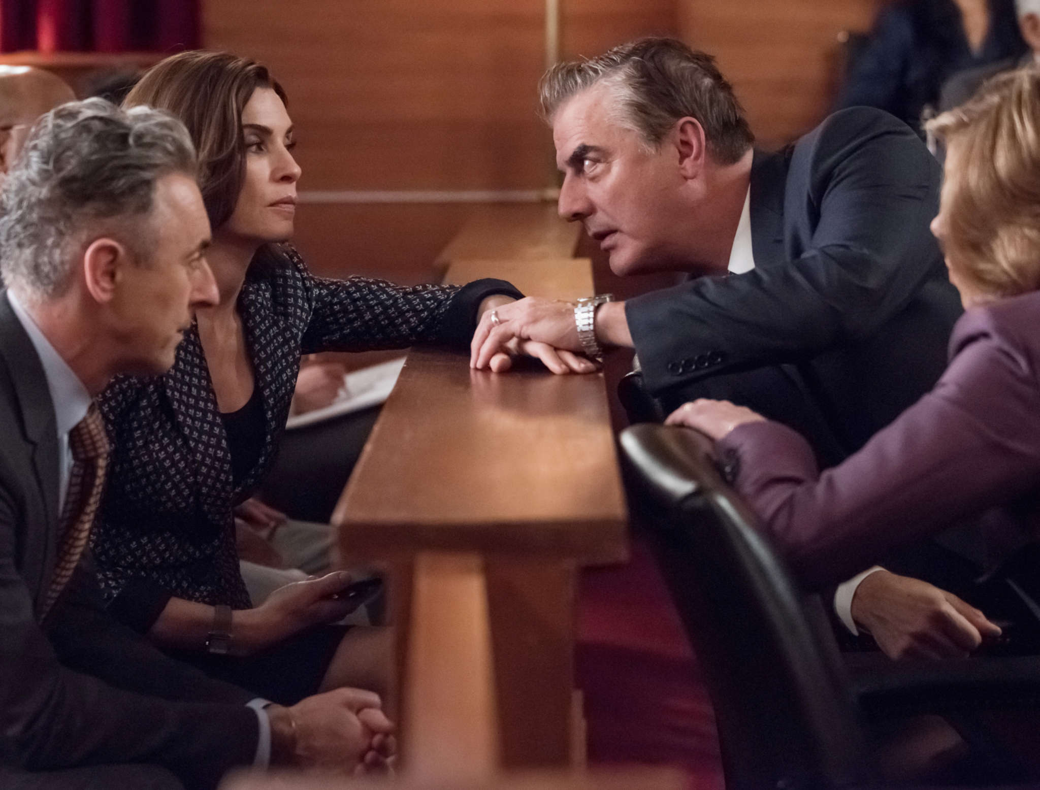 "Not just good, great: (from left) Alan Cumming, Julianna Margulies, Chris Noth, and Christine Baranski in ""The Good Wife."""