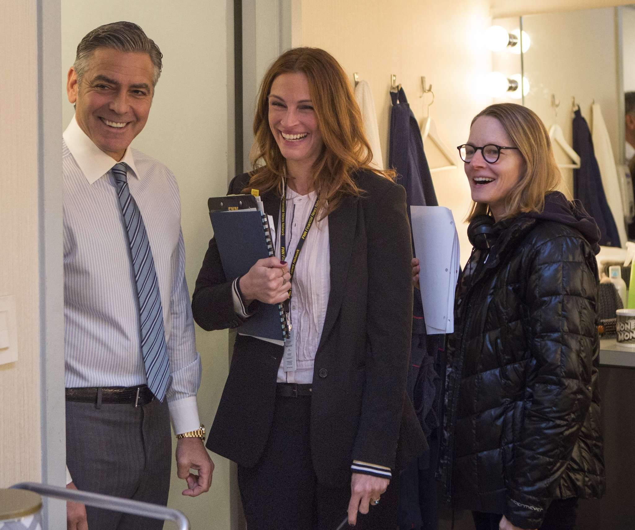 "Brief encounter: The stars of ""Money Monster,"" George Clooney and Julia Roberts, who were rarely on the set together due to scheduling issues, with director Jodie Foster (right). Foster, who received a star on Hollywood Boulevard on Wednesday, honoring her career as a director, has won two acting Oscars."