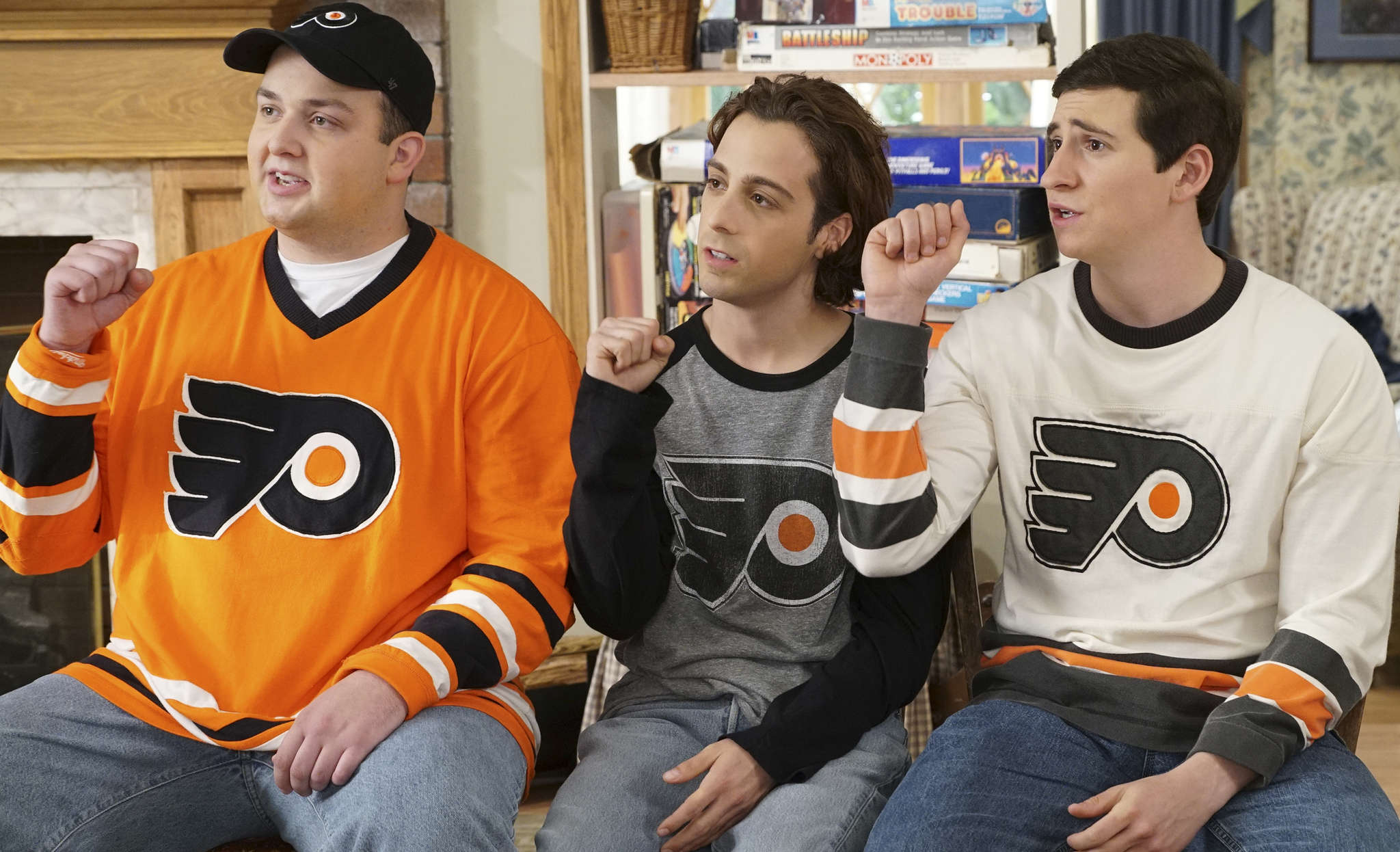 "Noah Munck (left), Matt Bush (center), and Sam Lerner in a scene from ""The Goldbergs."" The Flyers and the culture of hockey in Philadelphia are intrinsically woven into the 1980s-set comedy."