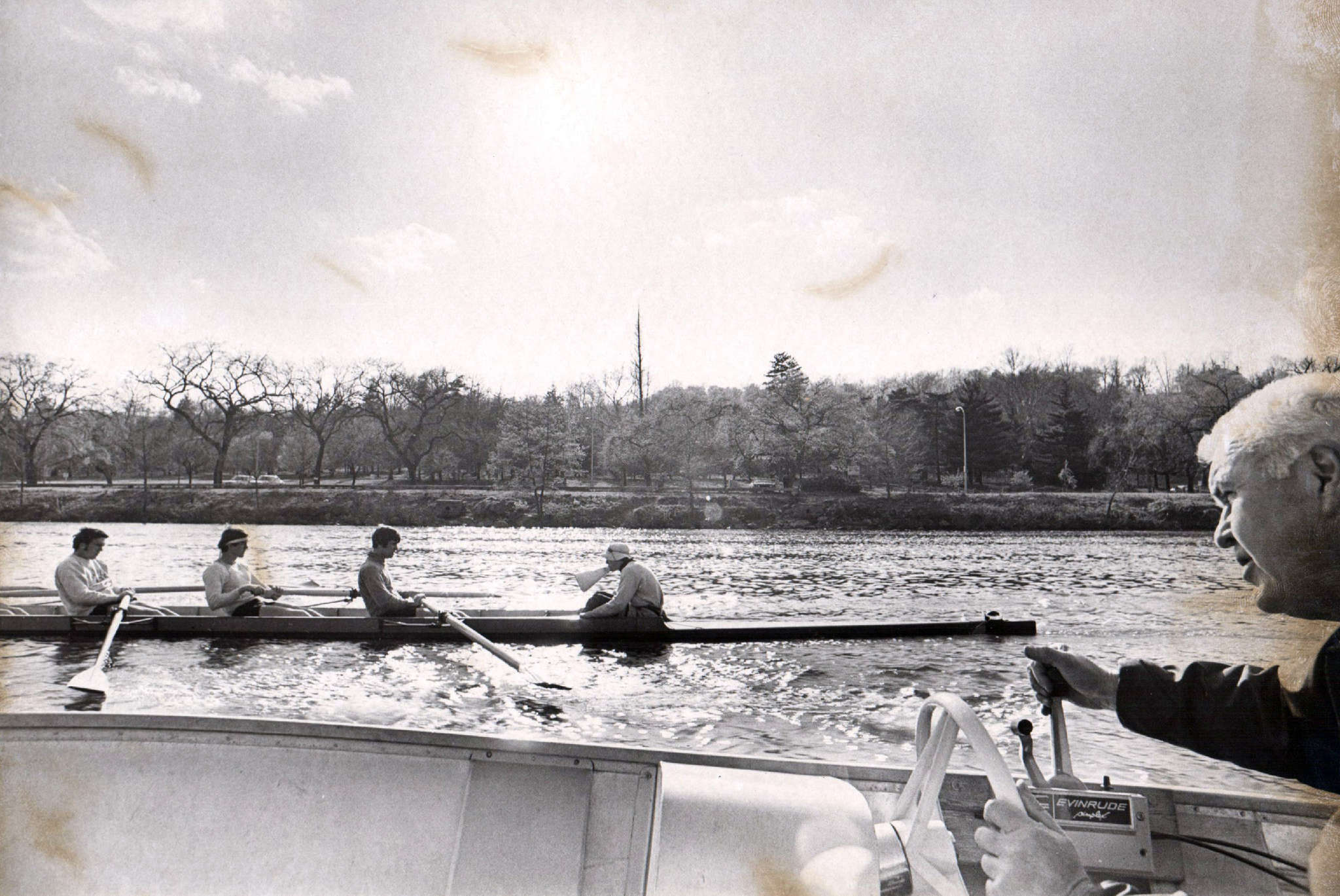 """Gavin White (far left) in his days as a Temple rower. """"I just feel like this would be a good natural end to it,"""" the 64-year-old White said of retiring as the Owls coach, and the greatest Schuylkill rowing coach of his generation."""