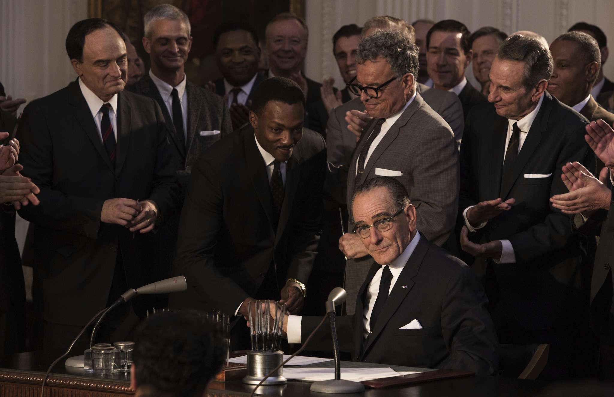 "Bryan Cranston plays President Lyndon Baines Johnson in HBO´s ""All the Way."" Bradley Whitford (far left) is Vice President Hubert Humphrey and Anthony Mackie is the Rev. Dr. Martin Luther King Jr."