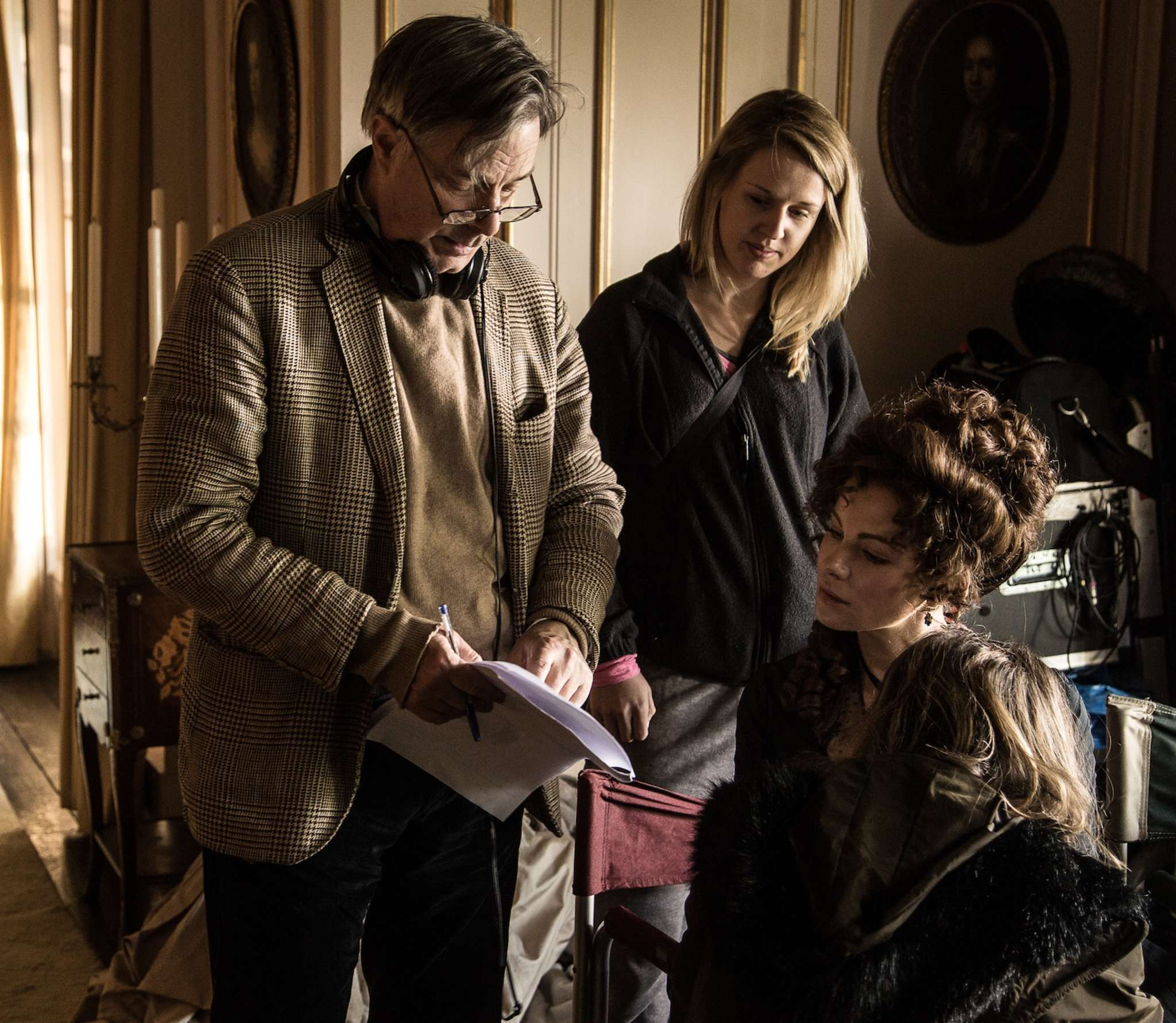 "Writer-director Whit Stillman with star Kate Beckinsale on the set of ""Love & Friendship."""