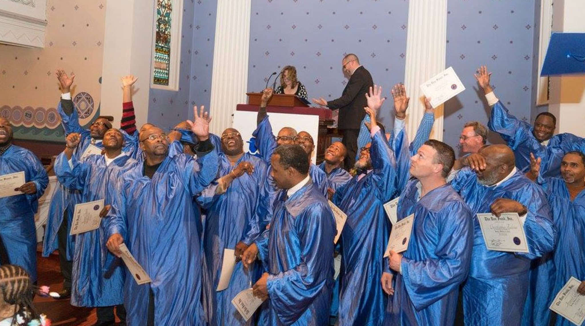 Jubilant Ready, Willing & Able graduates celebrate the beginning of a new life at ceremonies held at Old Pine Street Church. PHOTO: KYLE GARVEY