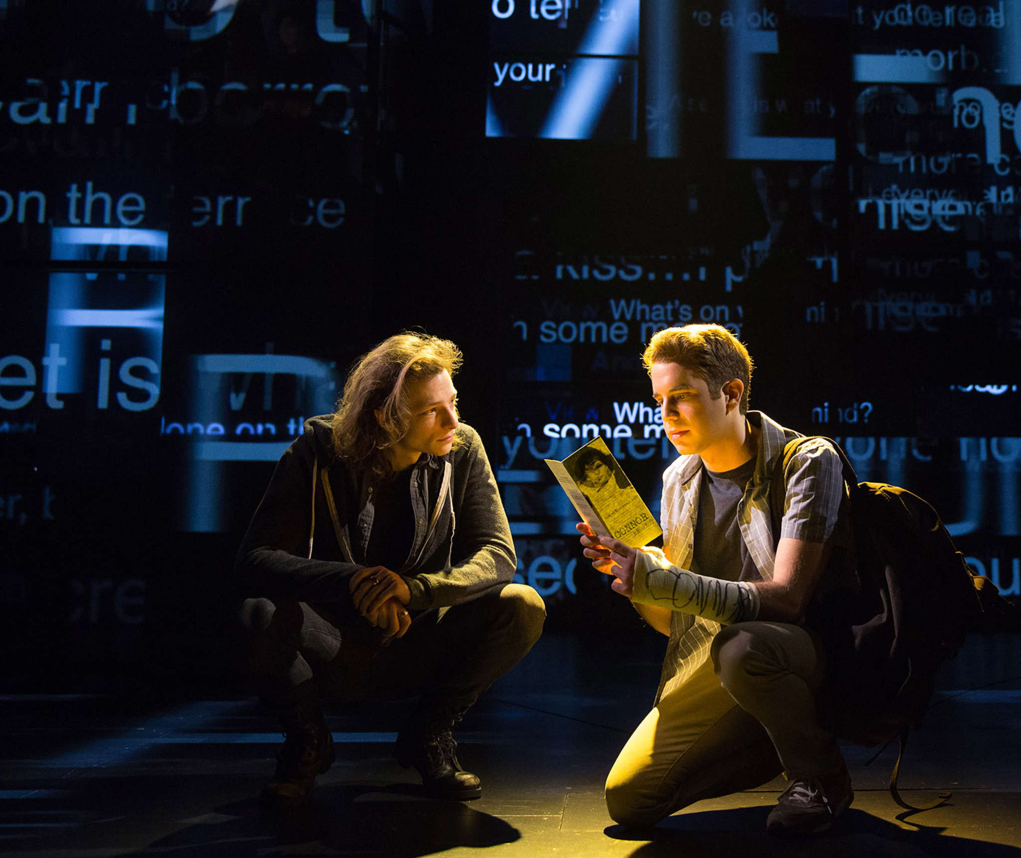 """""""Dear Evan Hansen,"""" a story for the digital age, won an Obie as best Off-Broadway musical, and Ben Platt (right), shown with Mike Faist, won an acting Obie. Now Broadway appears to be in the show´s future."""