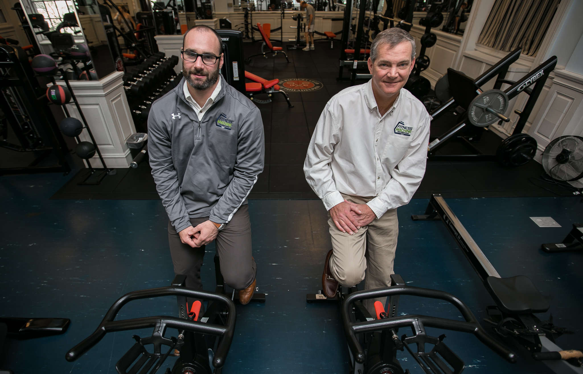 Fitness Machine Technicians founder Don Powers (right) with Andrew Lawrie, a training-facility owner who bought the FMT franchise rights for Berks and Lancaster Counties.