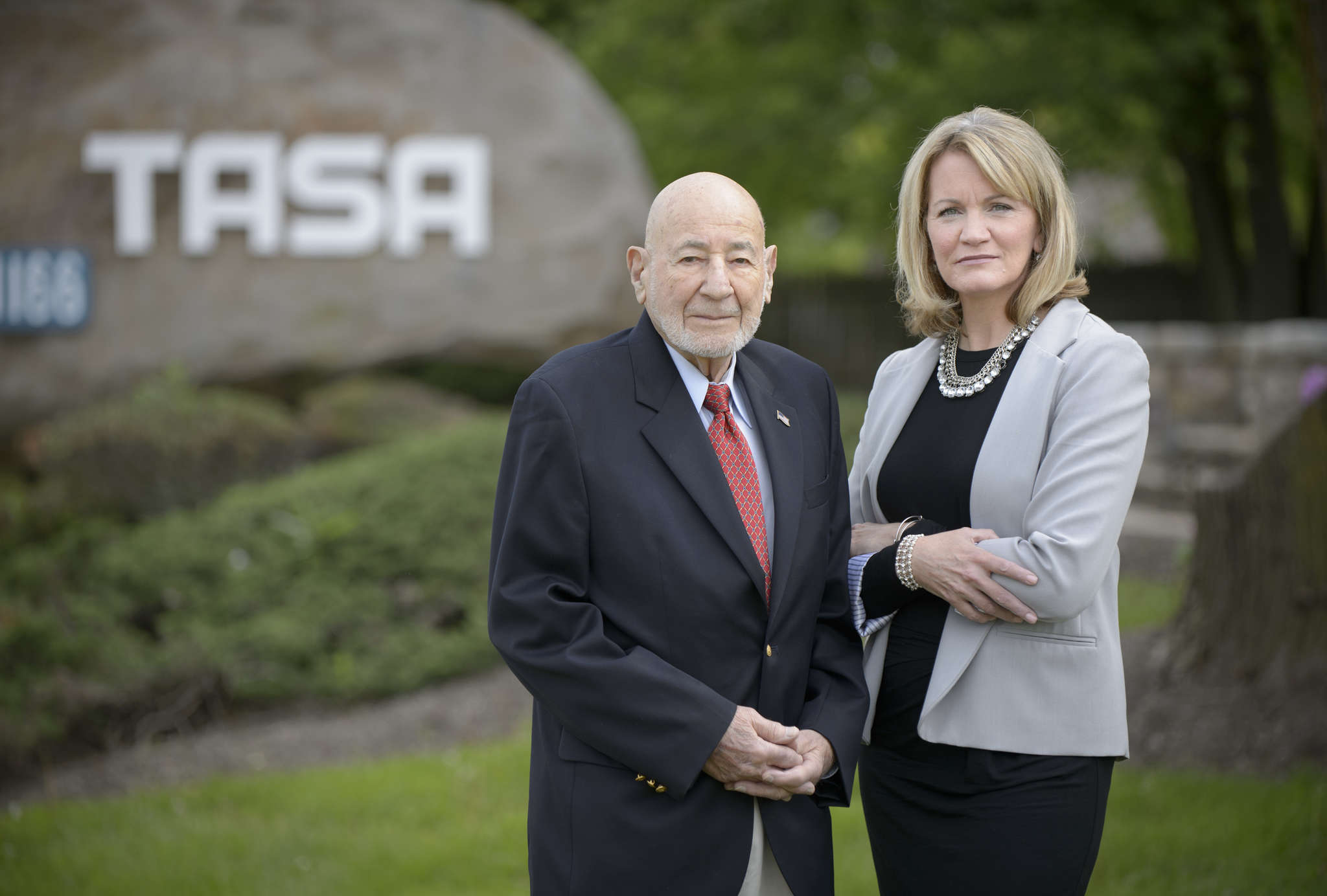 """TASA Group cofounder Jay Rosen is joined by CEO Melinda """"Mindy"""" Sungenis in front of the company´s headquarters in Blue Bell. TASA plans to remain independent, Sungenis said, in part by emphasizing personal service and carefully tracking legal trends."""