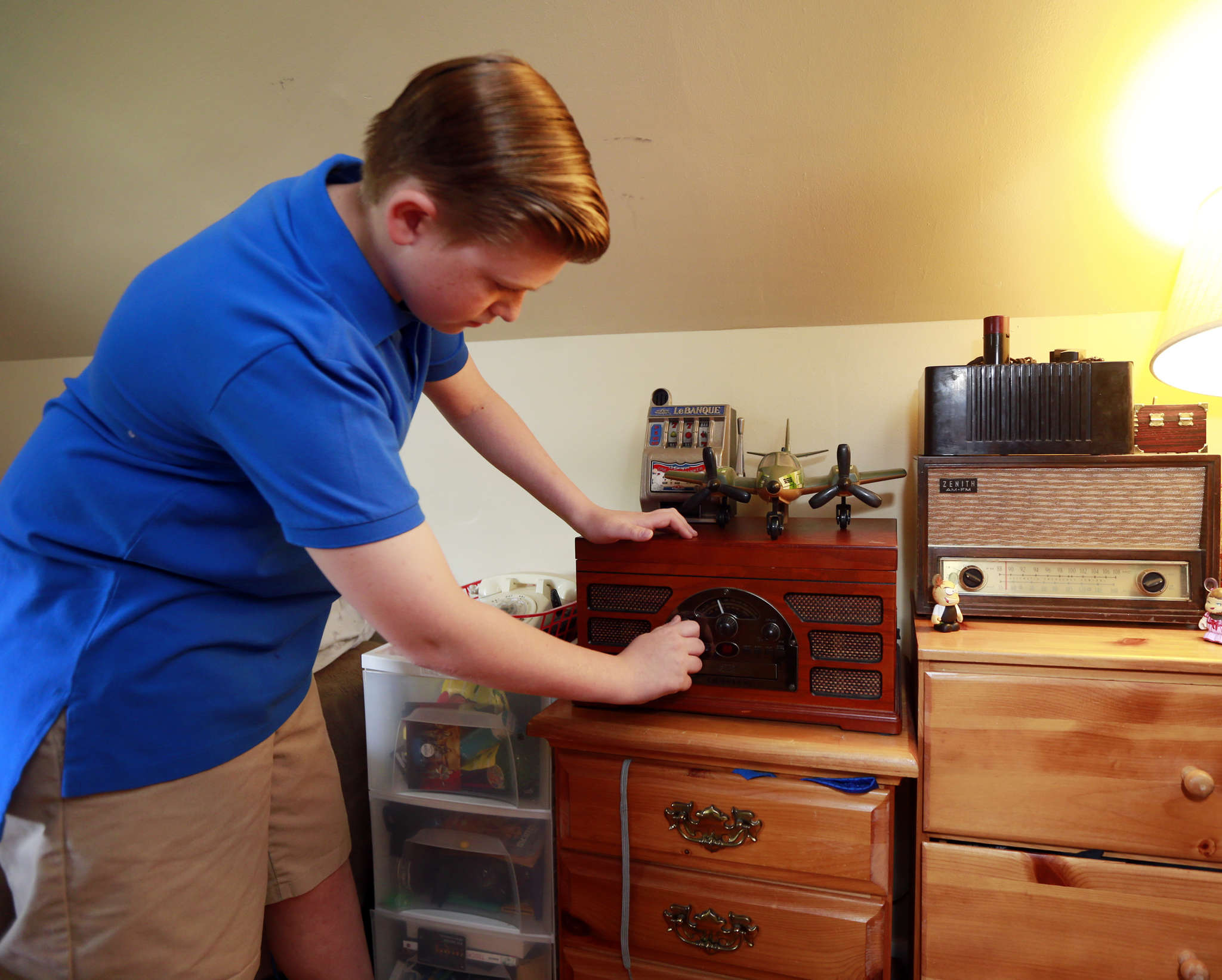 Joey Warchal, 13, is an antique expert from Somerton who has a vintage radio to make Al Capone´s prison cell at Eastern State Penitentiary more authentic. DAVID SWANSON / Staff Photographer