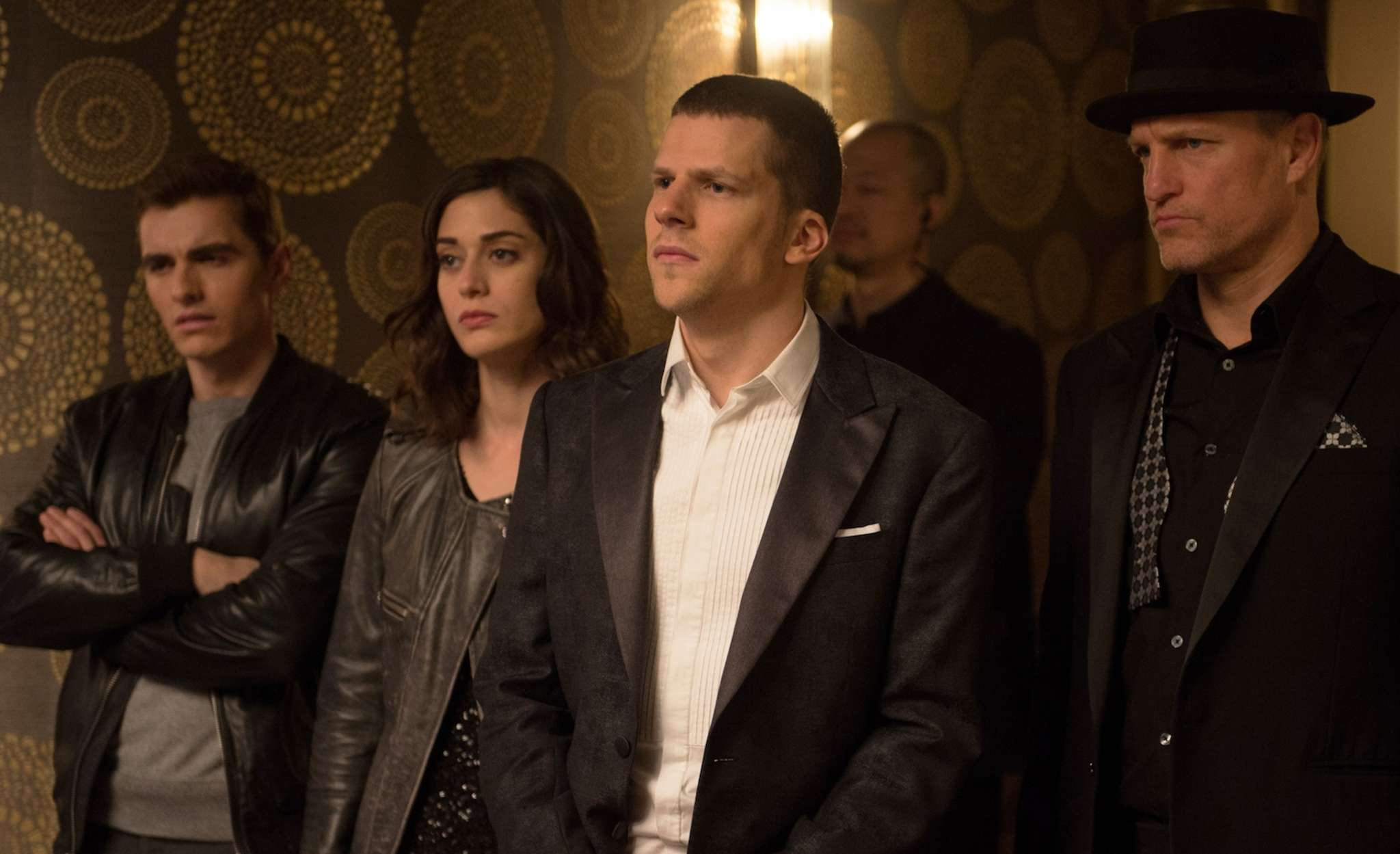 """""""Now You See Me 2"""": (from left) Dave Franco, Lizzy Caplan, Jesse Eisenberg, and Woody Harrelson."""