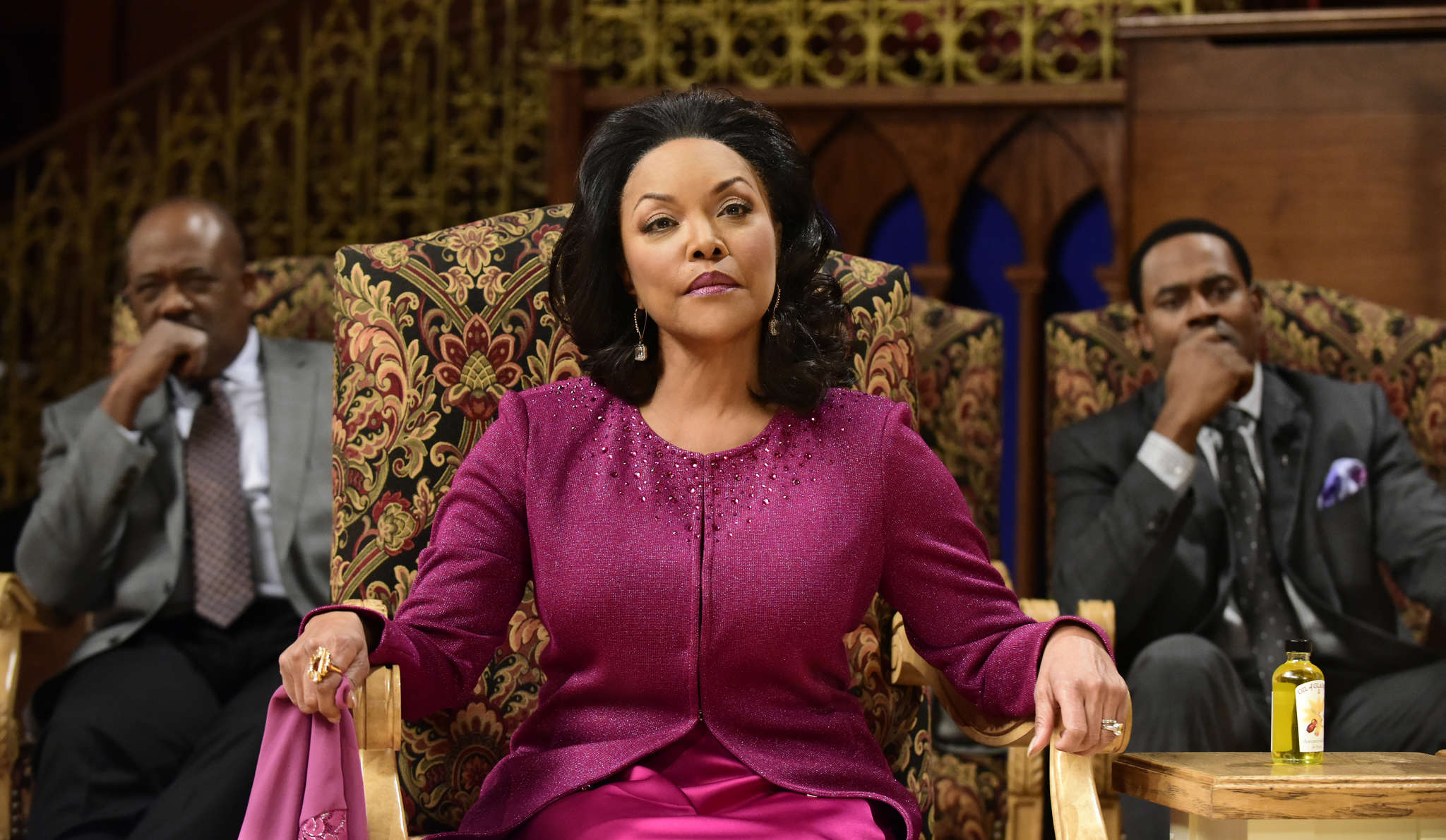 """""""Greenleaf,"""" about secrets and lies at a megachurch, stars (from left) Gregory Alan Williams, Lynn Whitfield, and Lamman Rucker."""