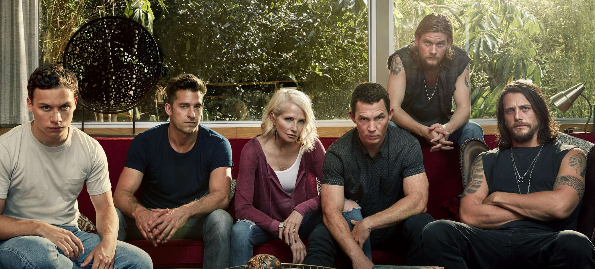 """The Cody crime family: Ellen Barkin plays the matriarch in """"Animal Kingdom,"""" with (from left) Finn Cole, Scott Speedman, Sean Hatosy, Jake Weary, and Ben Robson."""