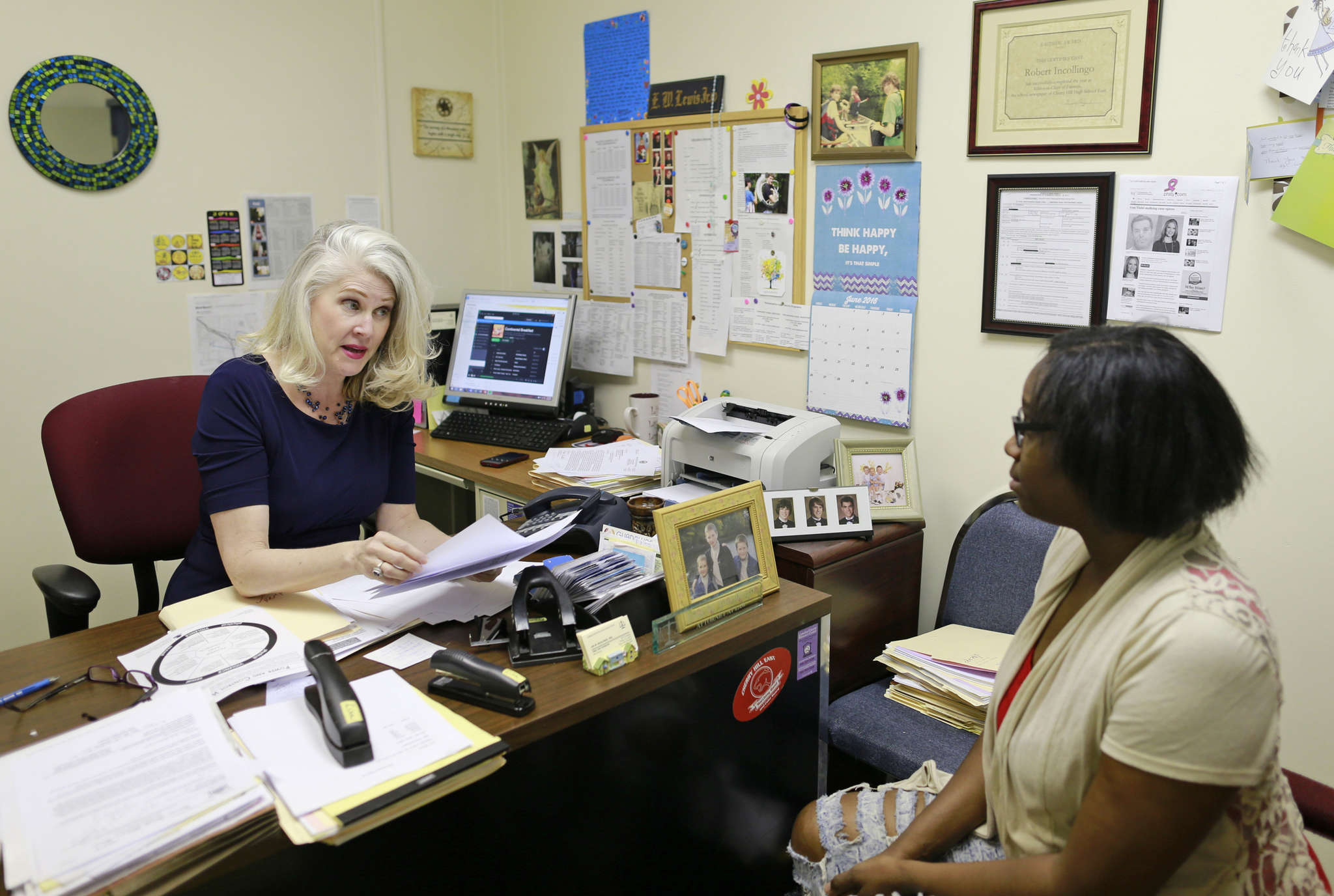 Lisa M. Incollingo meets with client Brande Houston at the Camden Center for Law and Social Justice. The center helped Houston get a restraining order against an ex-boyfriend.