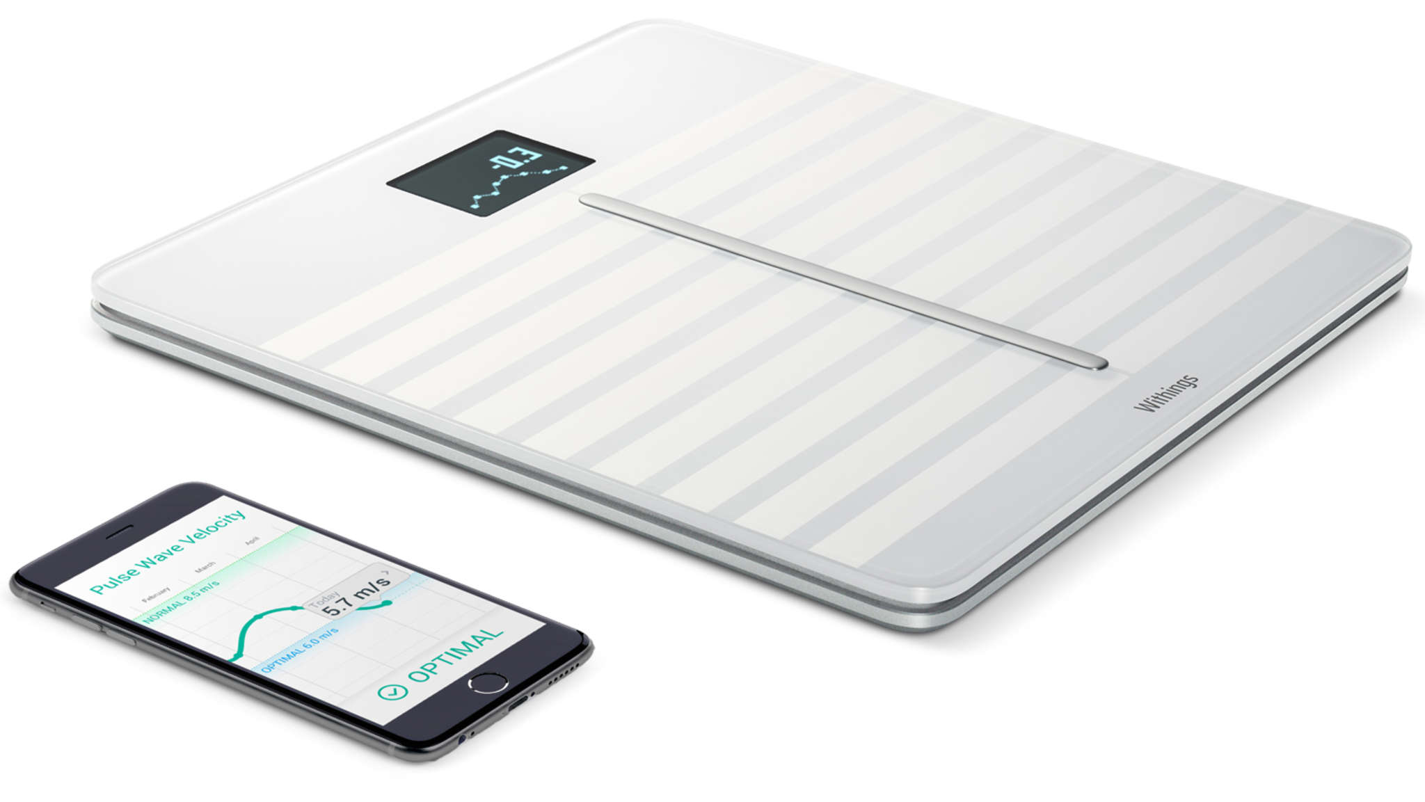 Withings´ Body Cardio is a smartphone-connected scale with features including cardio health assessment, BMI, and body composition. ($179.95).