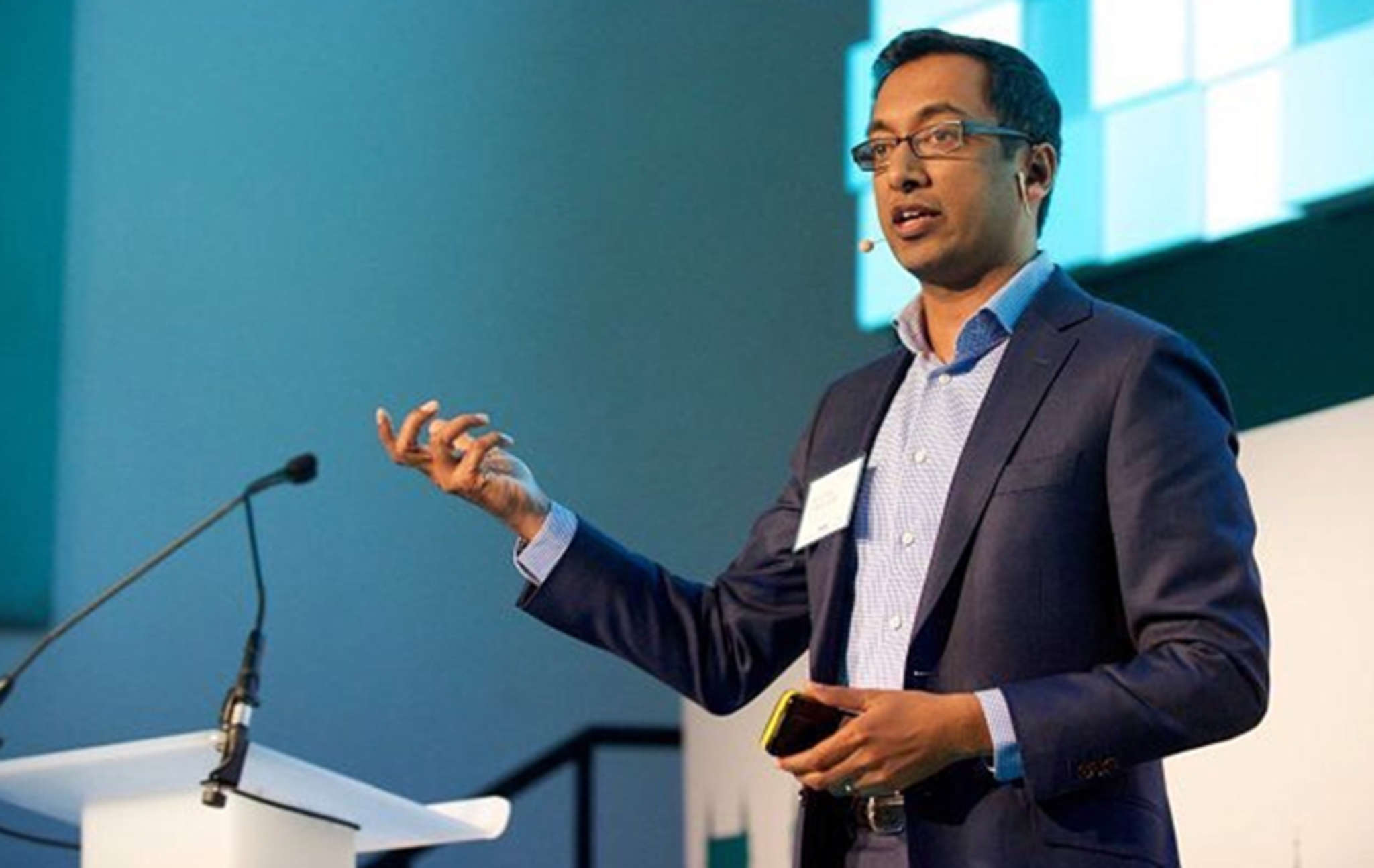 "Apu Gupta, CEO of Curalate. QVC hired his Philadelphia company and its ""visual commerce platform."" Gupta said Curalate links social-media posts and images to product information and purchasing."
