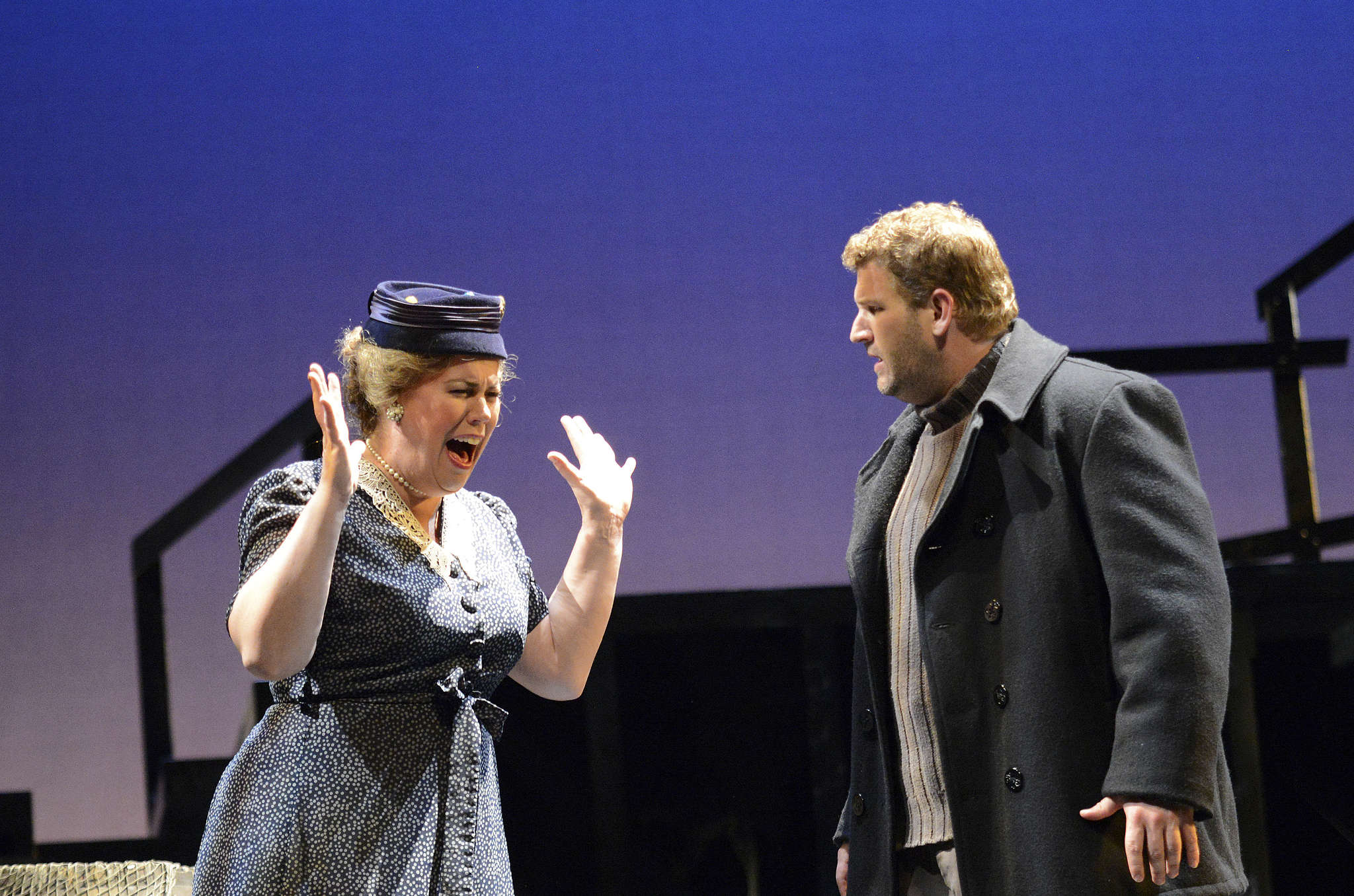 """In the Princeton Festival production of the fishing-village opera """"Peter Grimes,"""" Caroline Worra is Ellen Orford, Grimes´ woman friend, and Alex Richardson stars in the title role, whose boy apprentices die under such mysterious circumstances."""