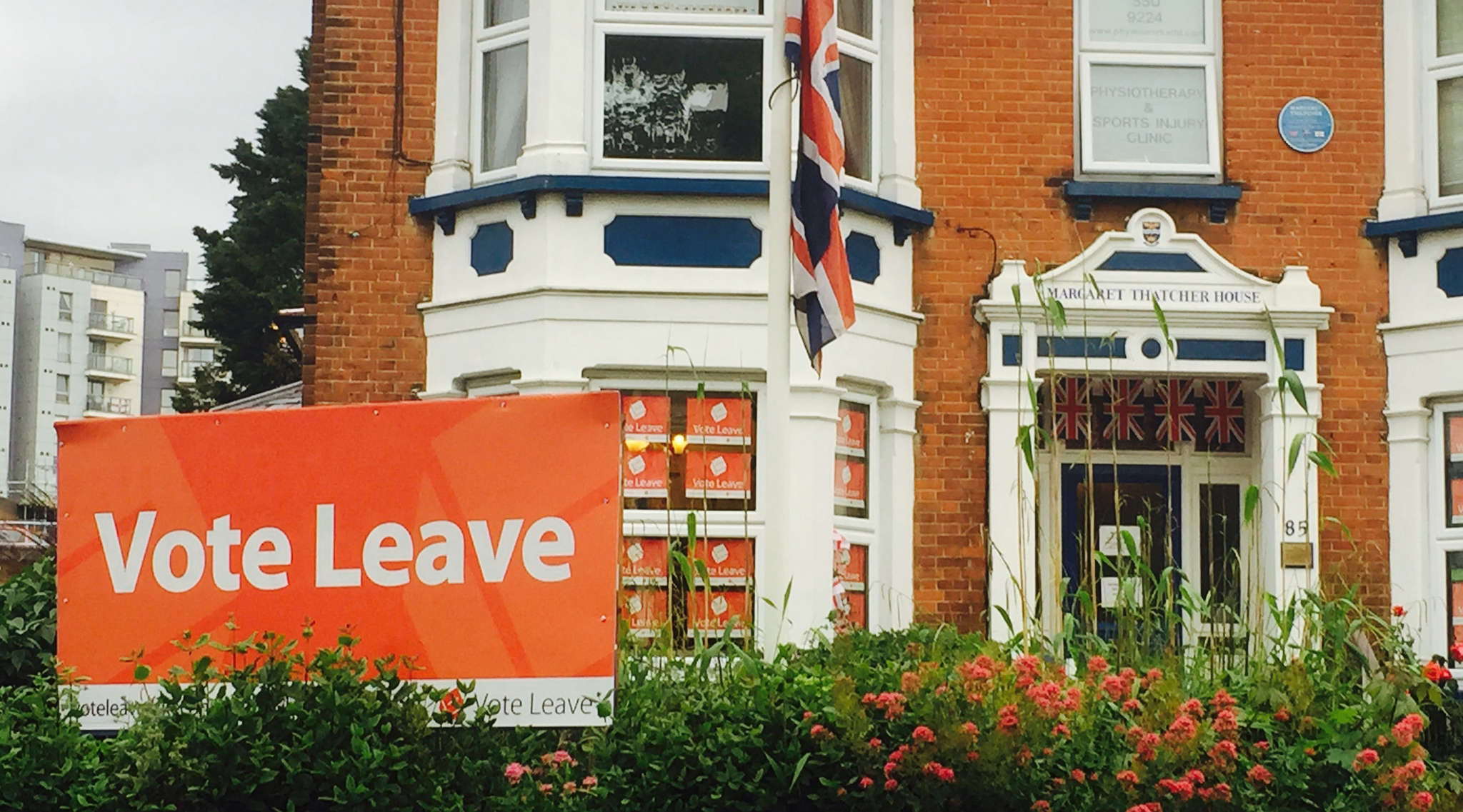 The Conservative Party headquarters in Romford - the Margaret Thatcher House - reflects the pro-Leave view on Brexit.