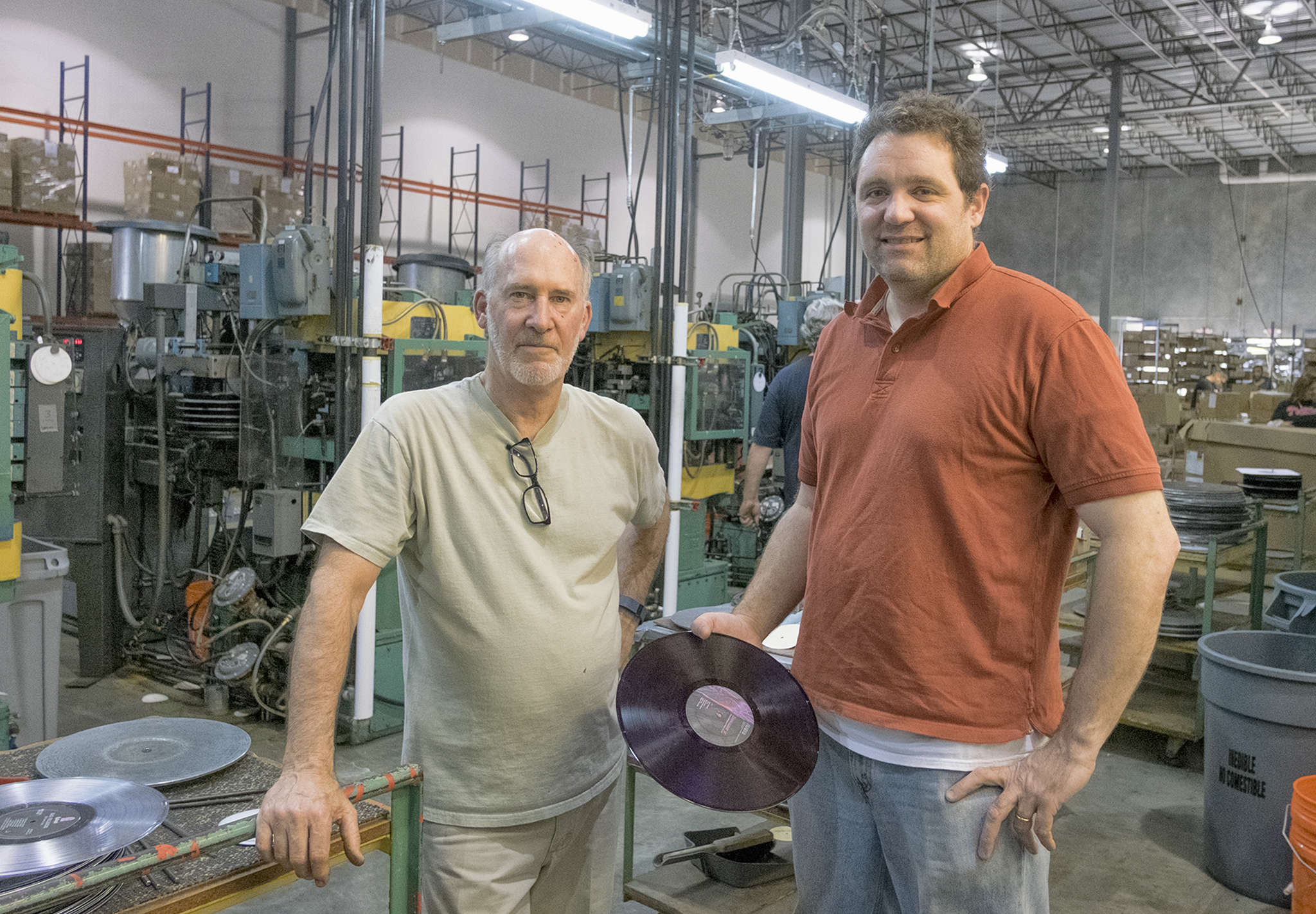 "Dave Miller (above left), plant manager , and Sean Rutkowski, general manager, at Independent Record Pressing in Bordentown. ""The appeal of vinyl is the boutiqueness of it,"" Rutkowski said. ""If you mass-produce it, I think it takes away some of that special feel."" ED HILLE / Staff Photographer"