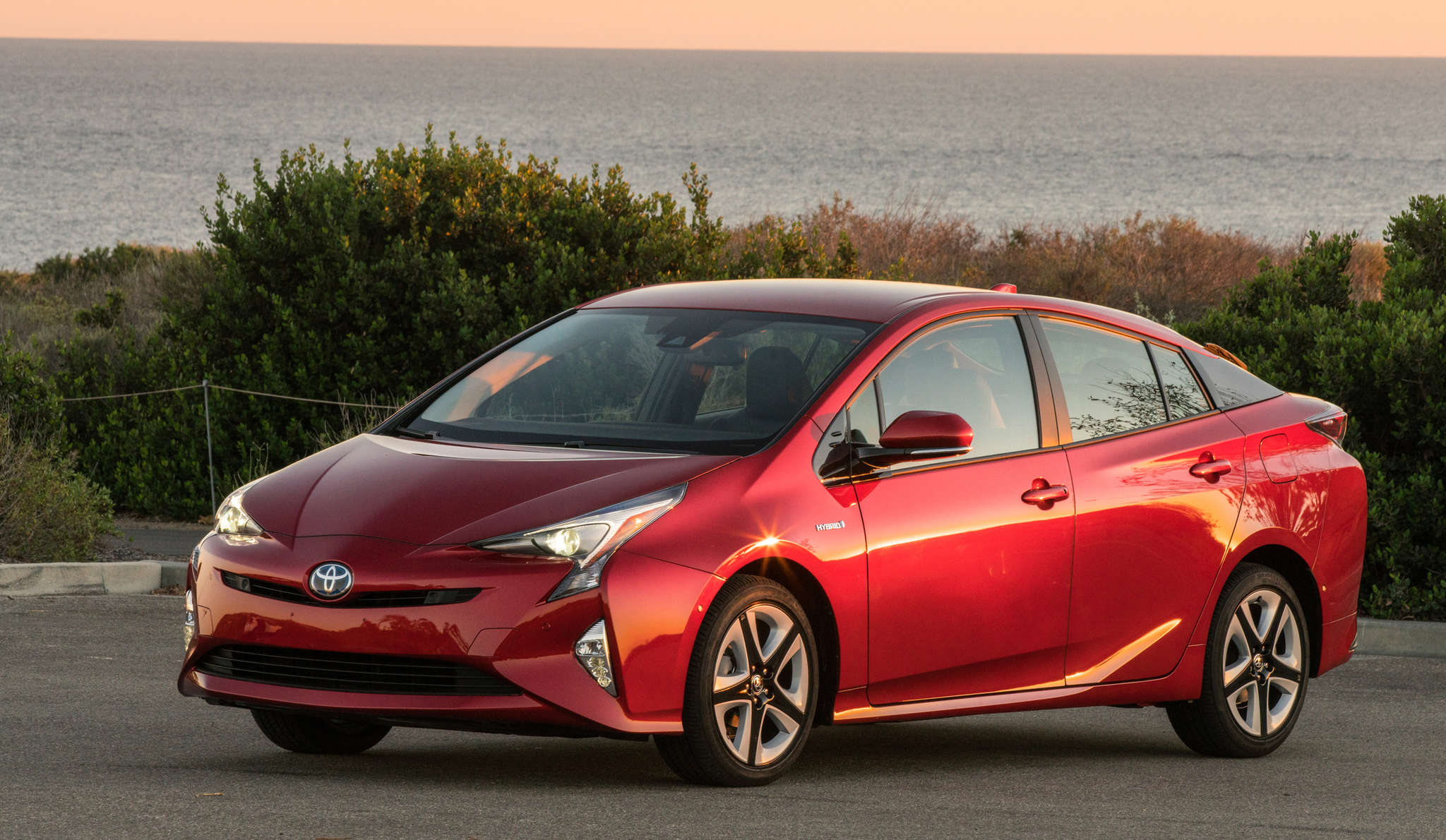 The 2016 Toyota Prius gets a new look for this model year, with sharper headlights and taillights.