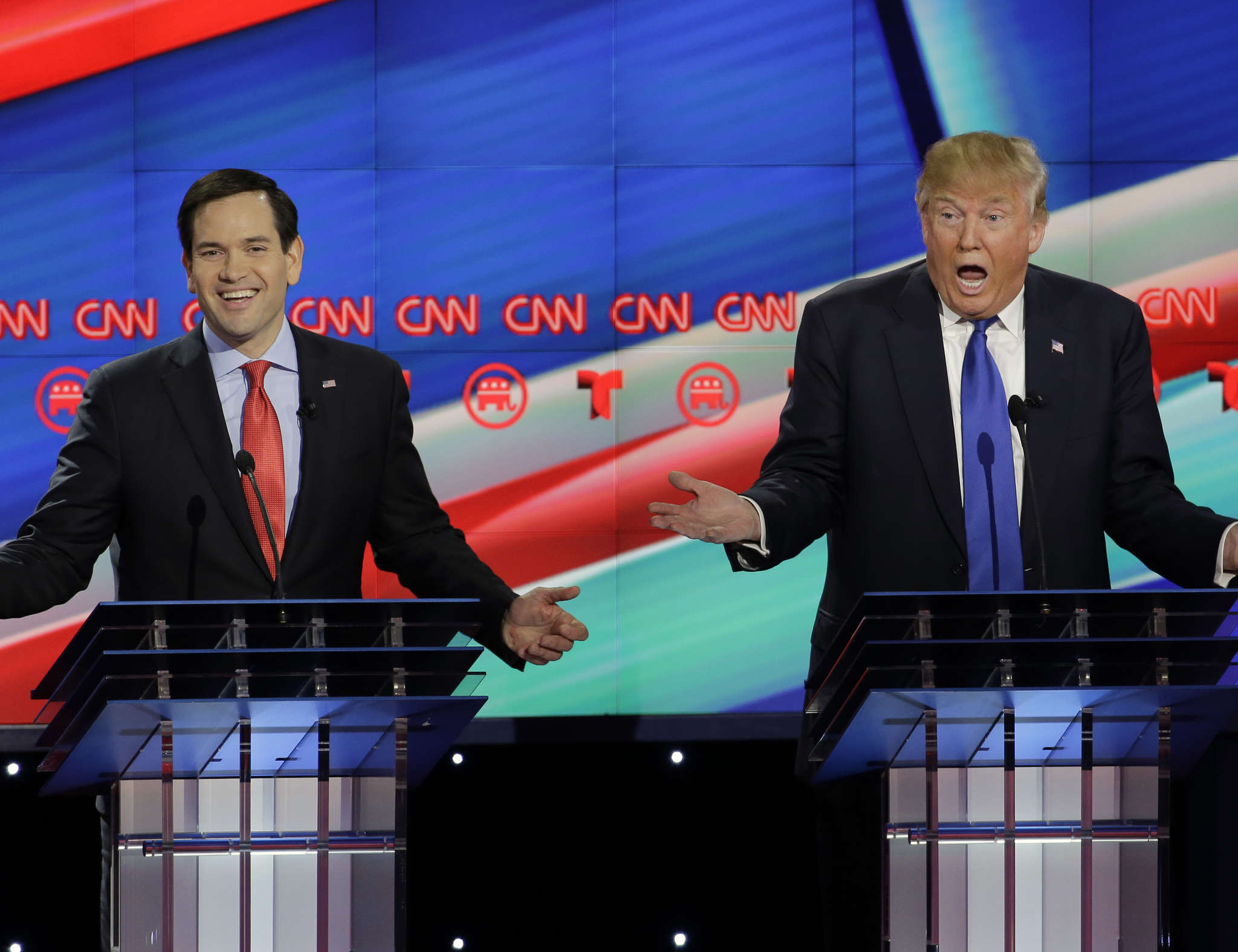 Sen. Marco Rubio and Donald Trump during a GOP primary debate: The general election debates appear to promise more of the same name calling and canned answers. AP Photo / David J. Phillip