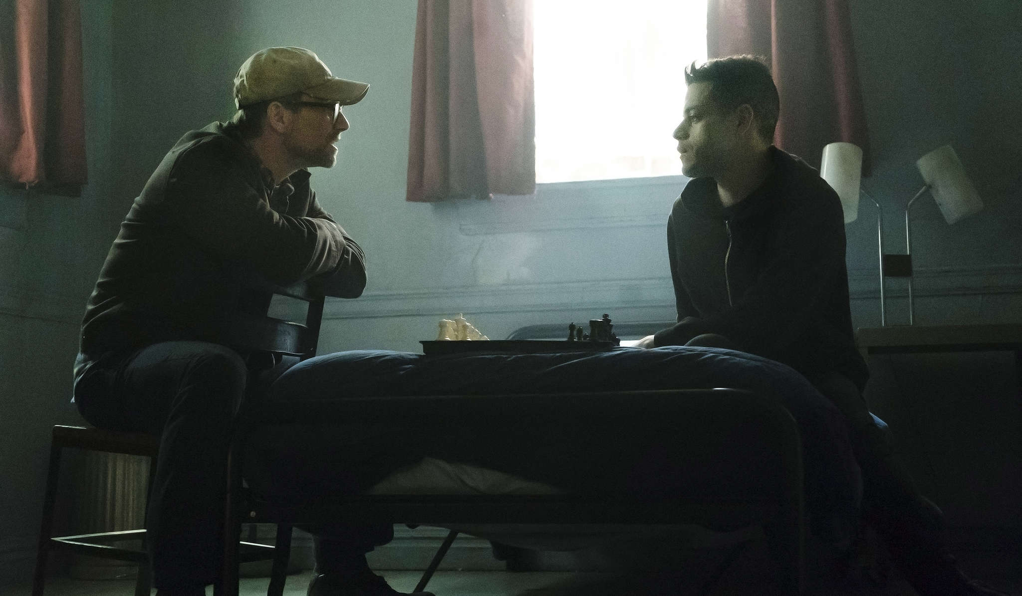 """Christian Slater (left) is the title character in """"Mr. Robot,"""" and Rami Malek is Elliot, the delusional, depressed computer geek who takes on the world."""