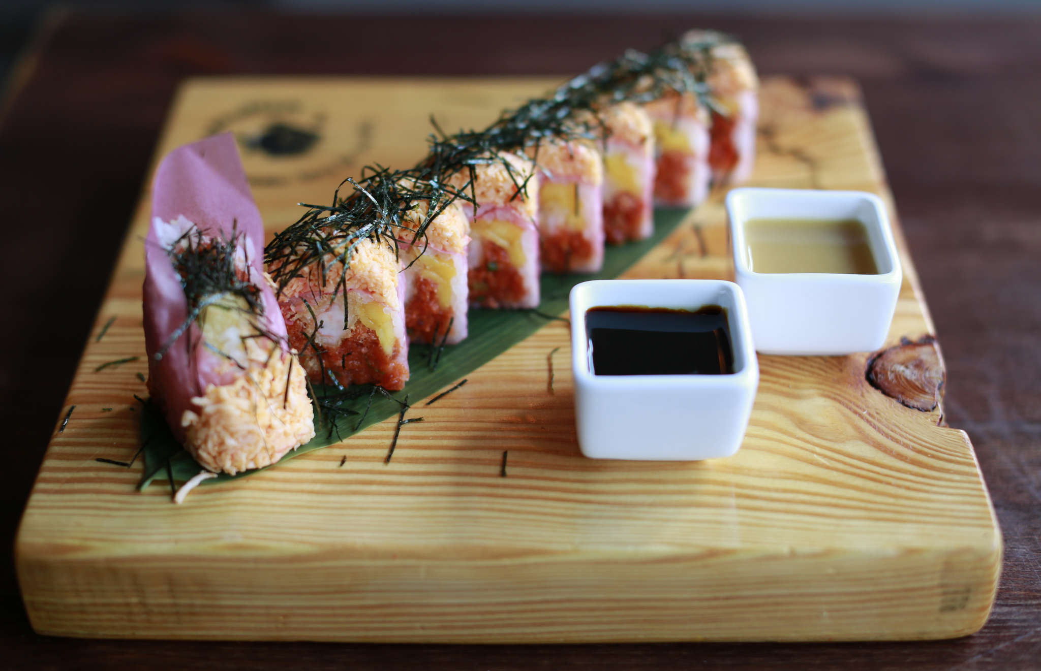 The Angry Dragon sushi at Bubblefish, among the neighborhood´s best, is on a menu that features Japanese and Taiwanese dishes.