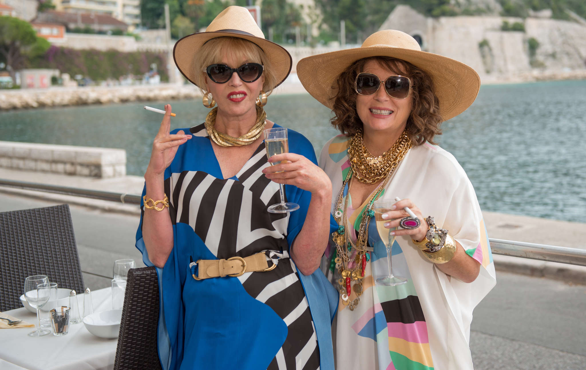 "Joanna Lumley (left) as Patsy and Jennifer Saundersas Edina star in ""Absolutely Fabulous: The Movie"" - from the BBC show that started in 1992."