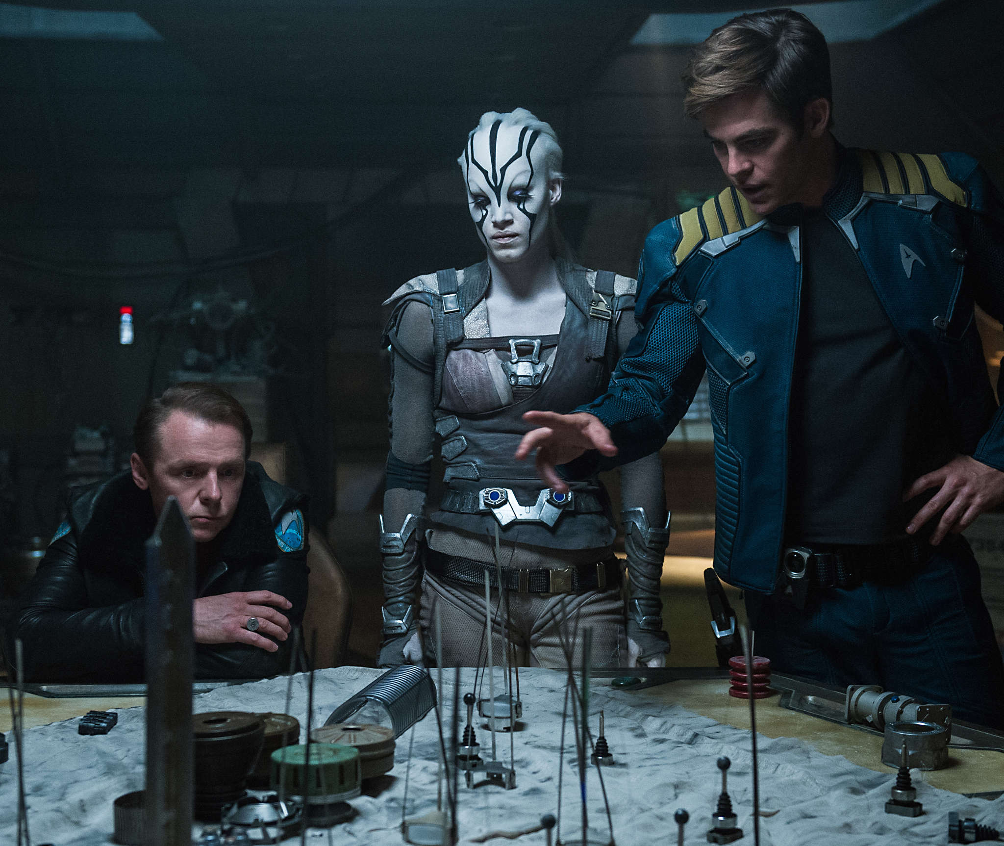 "Simon Pegg (left) as Lt. Cmdr. Montgomery ""Scotty"" Scott, Sofia Boutella as Jaylah, and Chris Pine as Capt. James T. Kirk in ""Star Trek Beyond,"" the third installment in J.J. Abrams´ reboot of the franchise."
