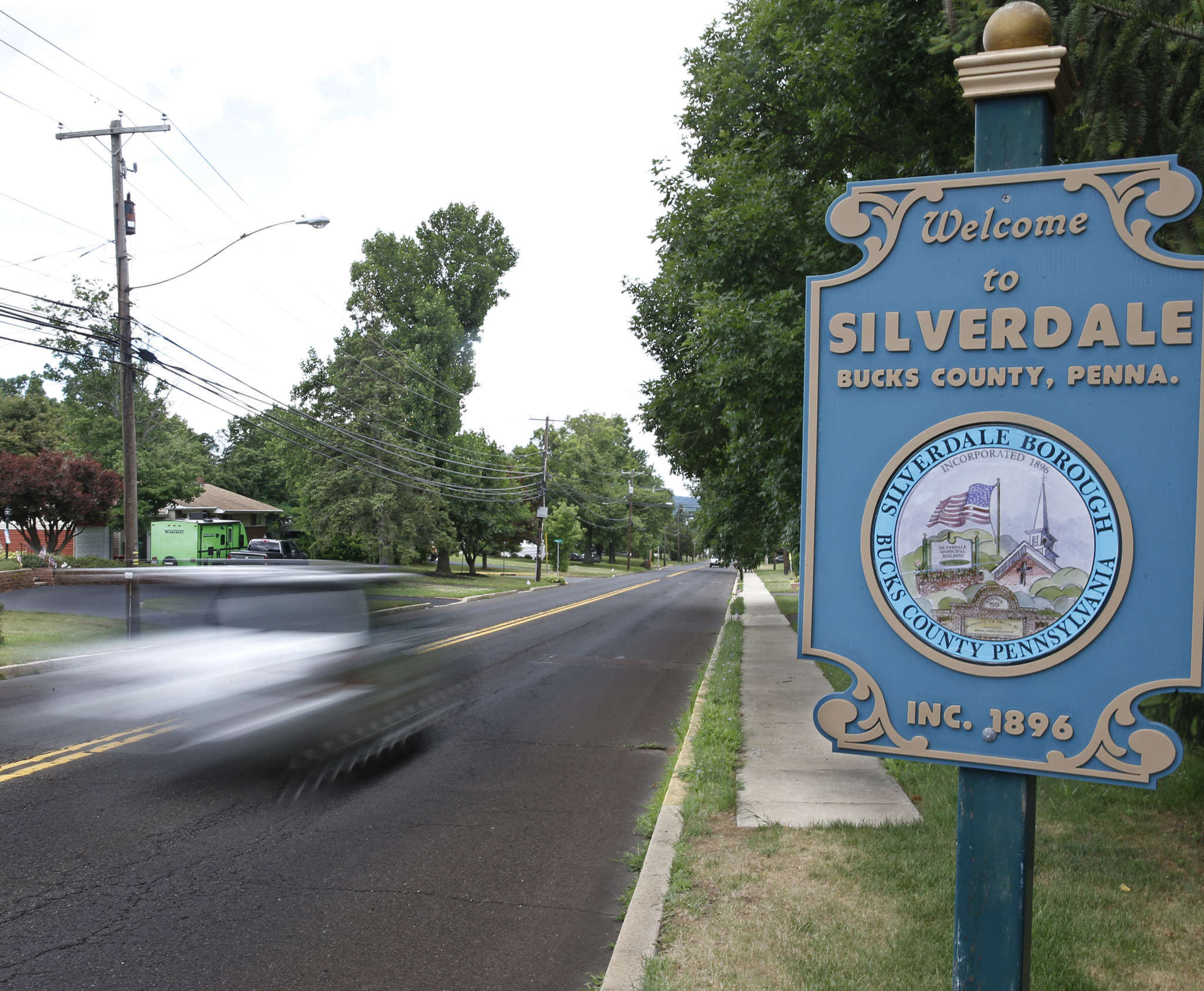 Silverdale´s welcome sign invites visitors into the tiny Bucks borough within commuting distance of Phila.