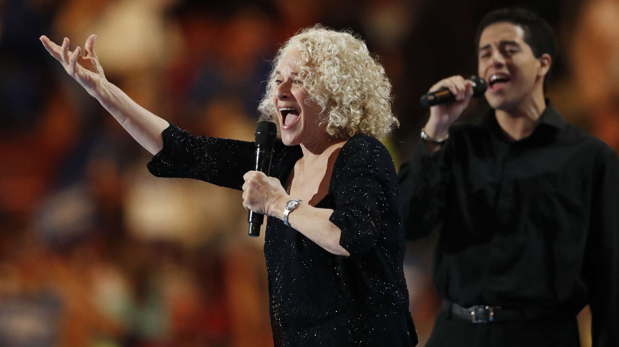 """Carole King performed """"You´ve Got a Friend."""" Later, Katy Perry performed tunes of more recent vintage as the stars continued to take the stage in support of Hillary Clinton."""