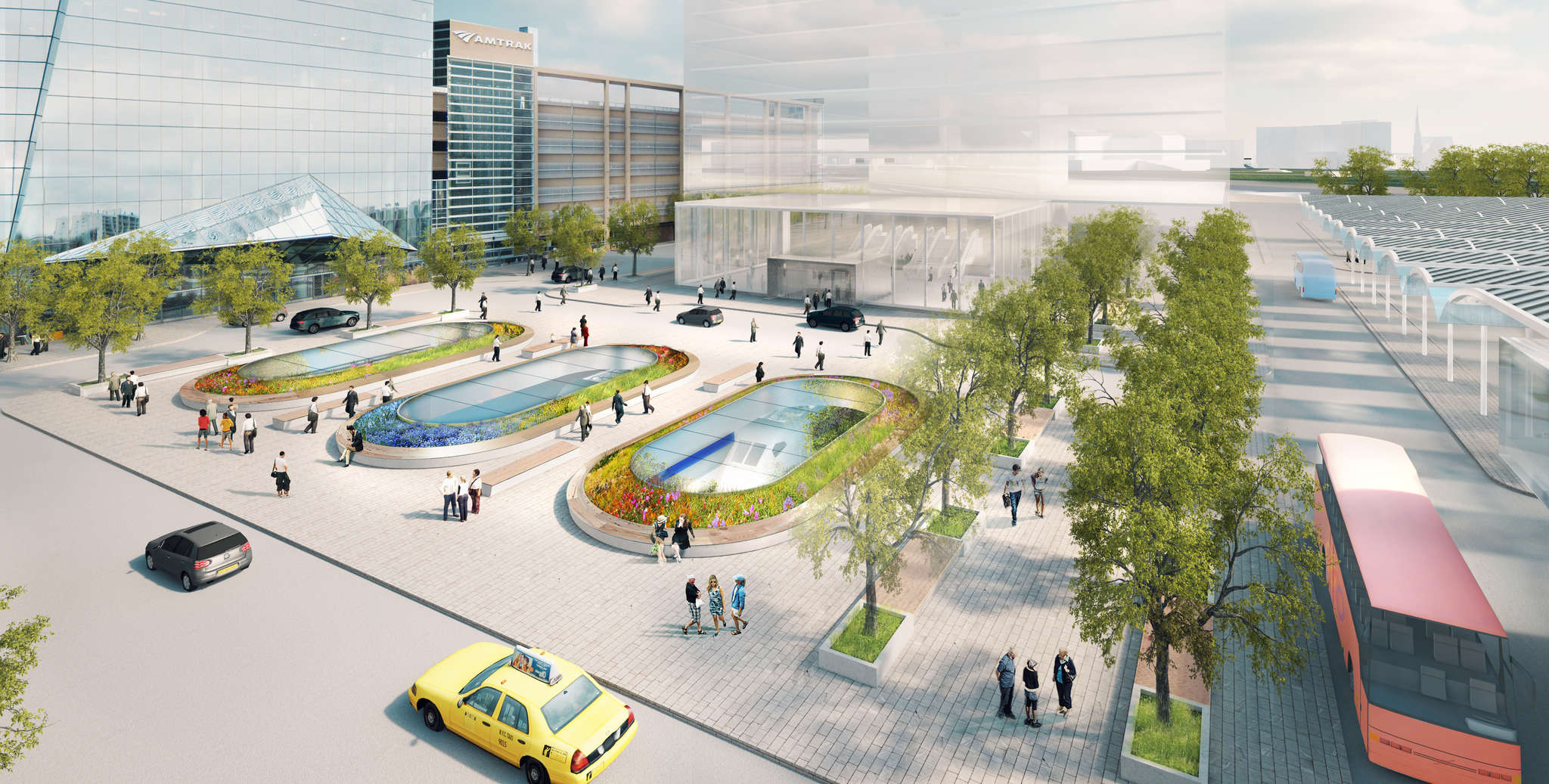 A rendering shows what the bus station could look like, at the base of the Cira Centre.