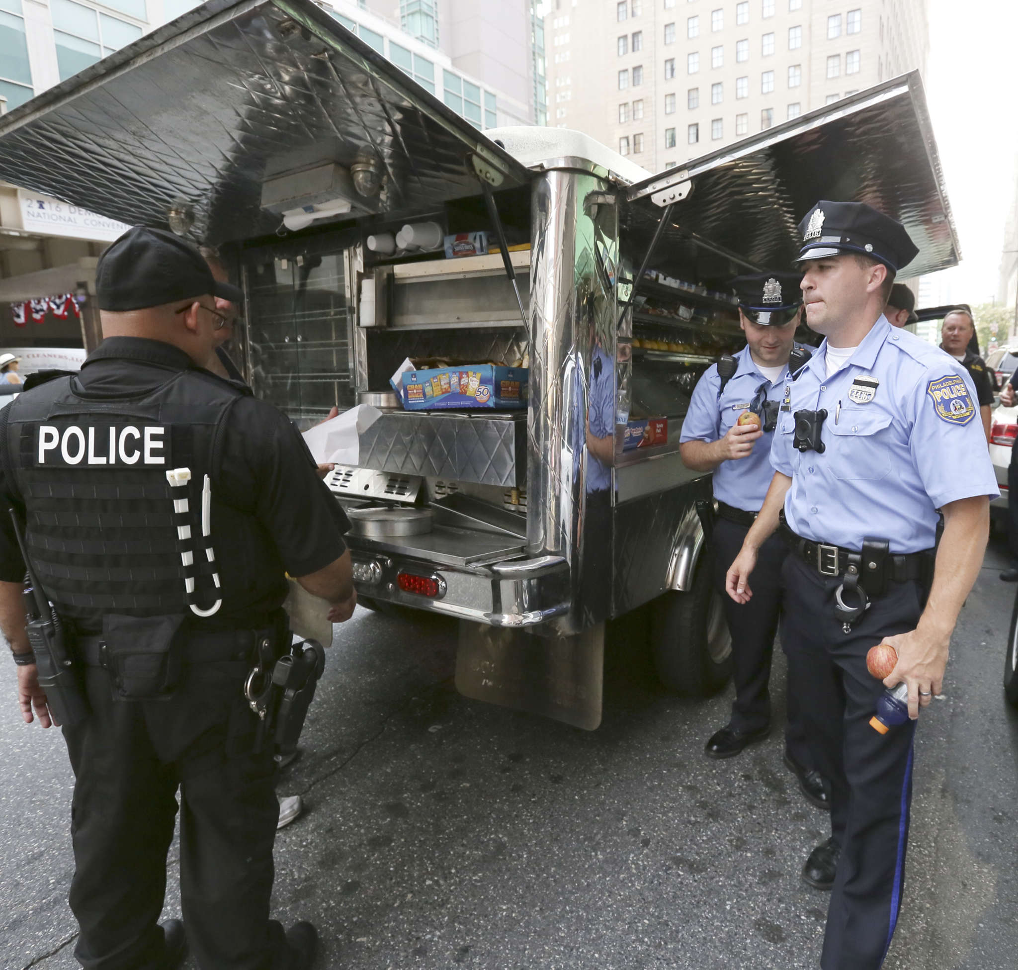 Officers working the DNC were fed and hydrated during the heat wave.